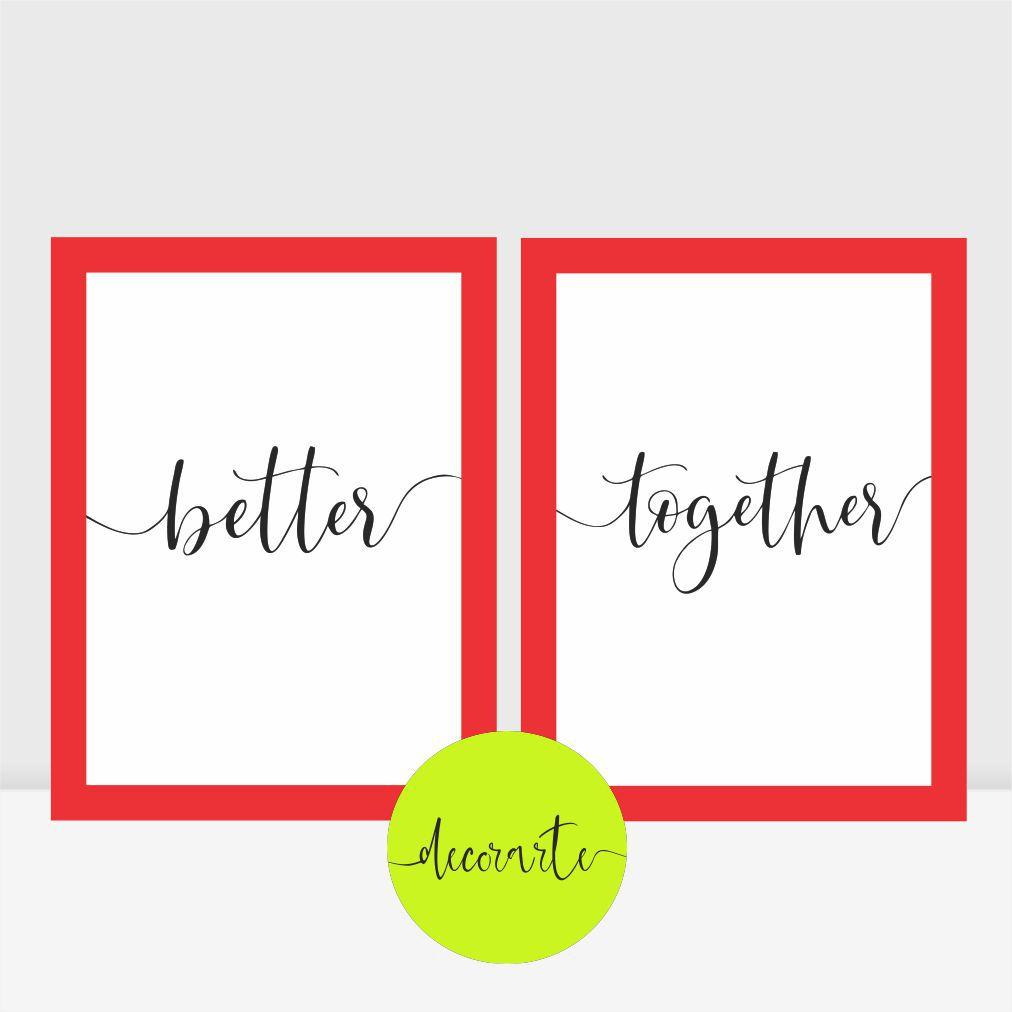 Duo Quadros para Quarto Casal - BETTER TOGETHER / Melhores Juntos