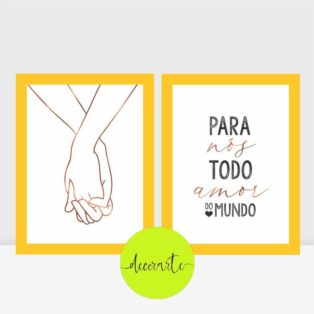 Duo Quadros para Quarto Casal - Mãos Dadas / Para Nós Todo Amor do Mundo