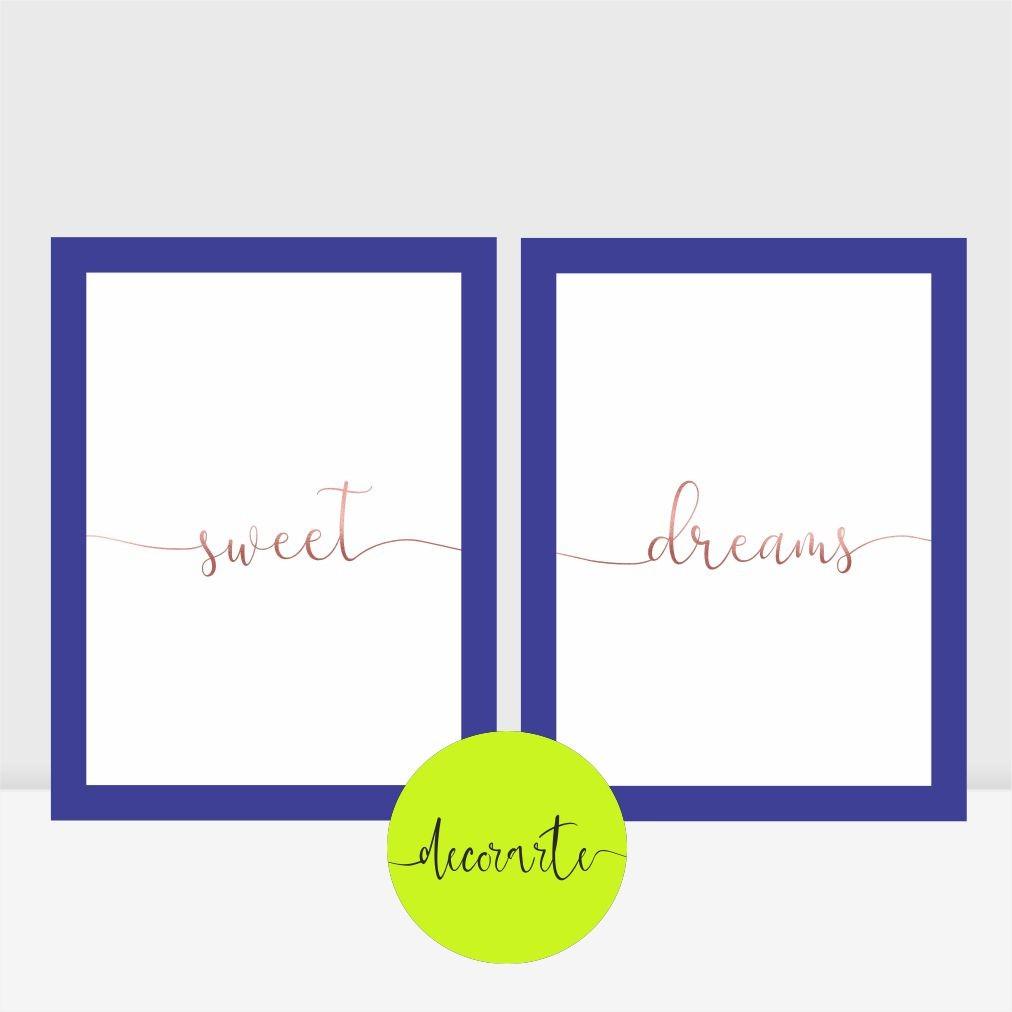 Duo Quadros para Quarto Casal - Sweet Dreams Rosê