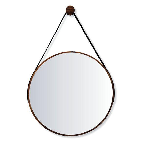 Espelho Escandinavo Minimalista de Madeira e Alça