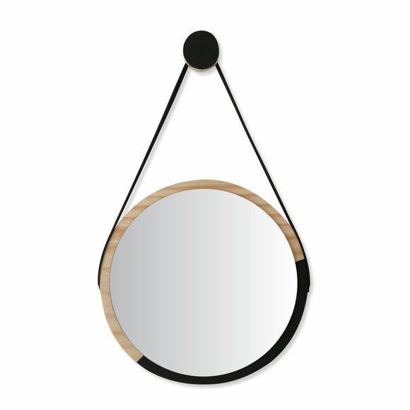 Espelho Escandinavo Minimalista de Madeira e Alça - DUO