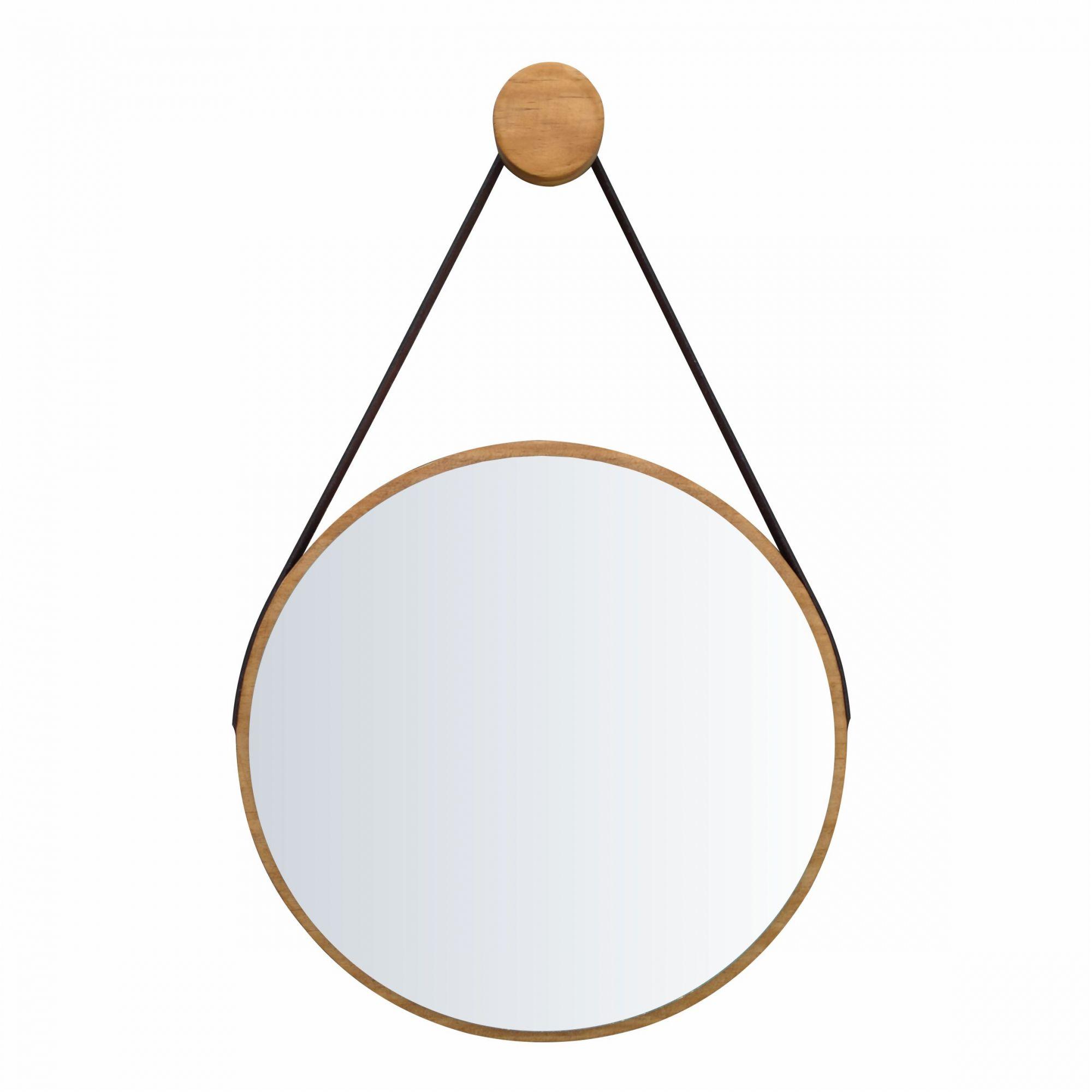 Espelho Escandinavo Minimalista de Madeira e Alça Rústico