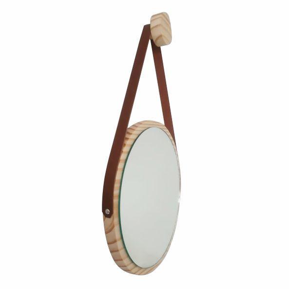 Espelho Escandinavo Minimalista de Madeira Natural e Alça