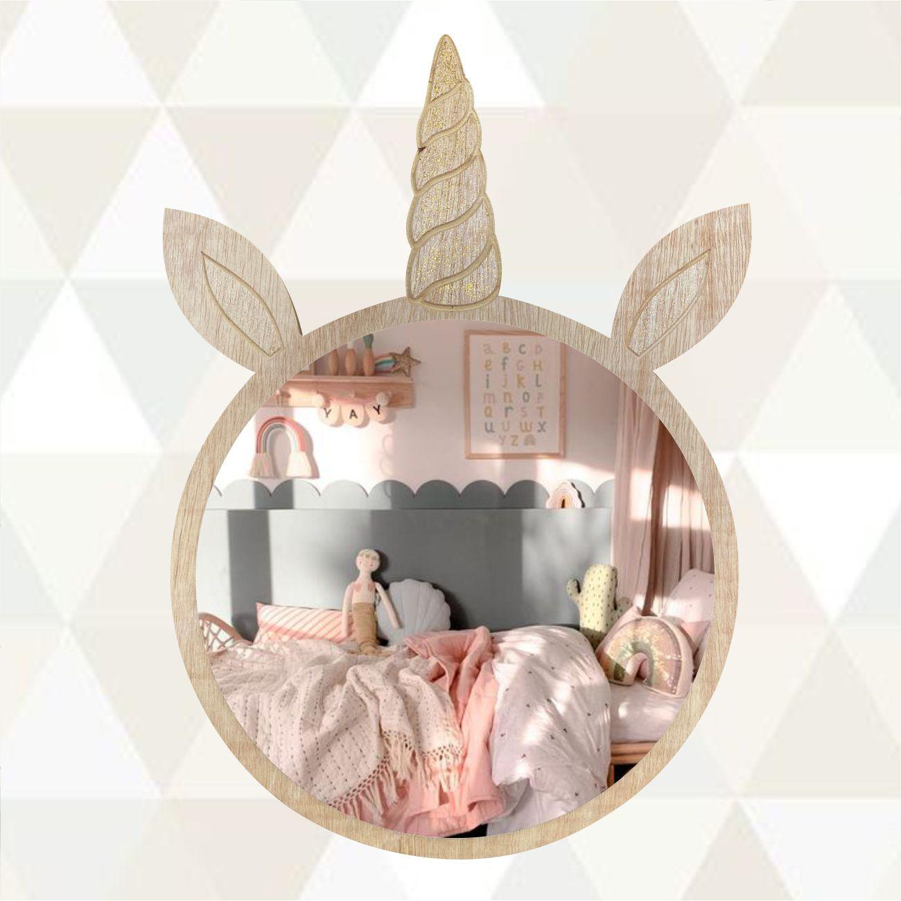 Espelho Para Quarto Infantil Unicórnio em Madeira