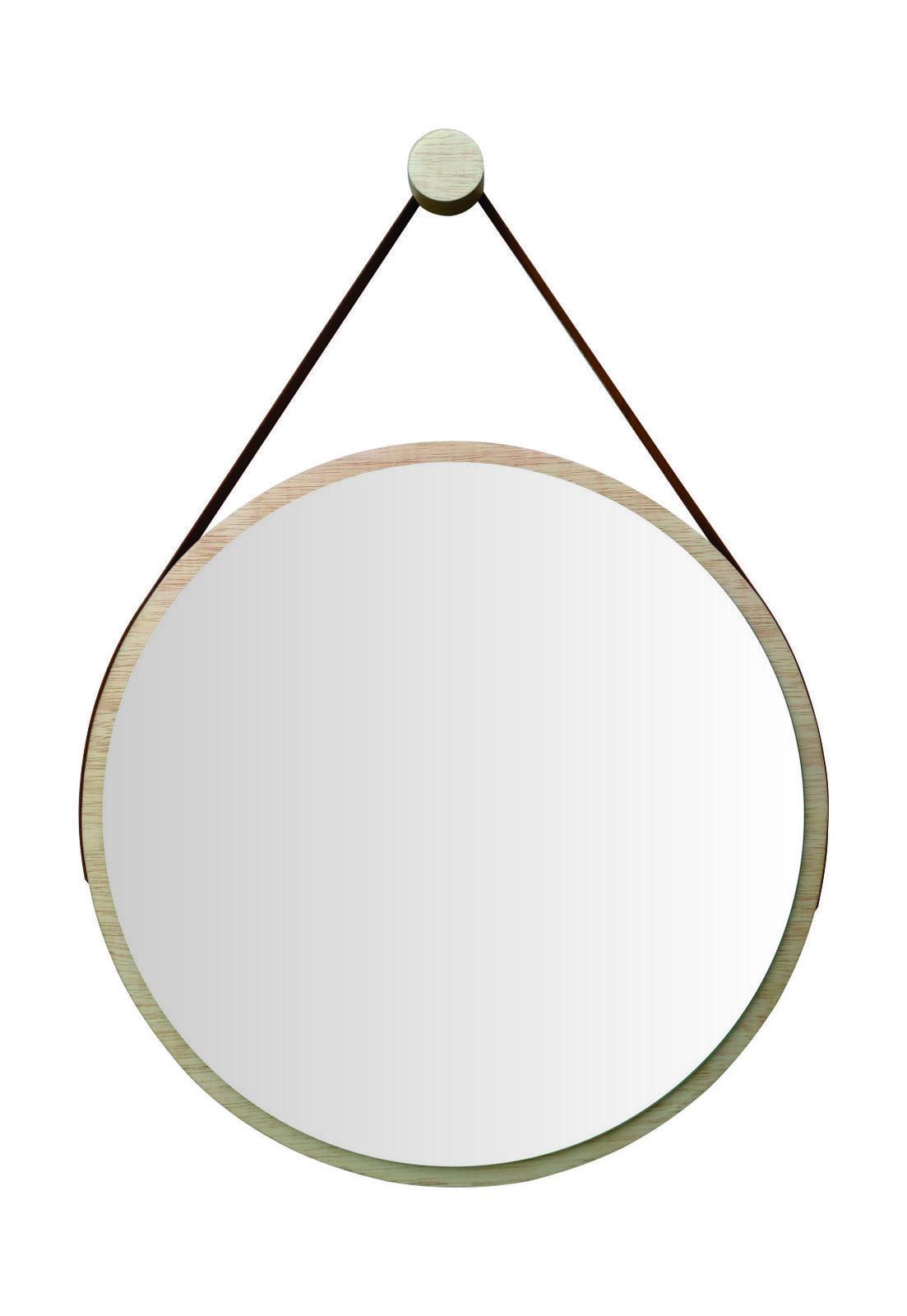 Espelho Redondo Adnet Minimalista com Alça Caramelo + Pendurador 60cm