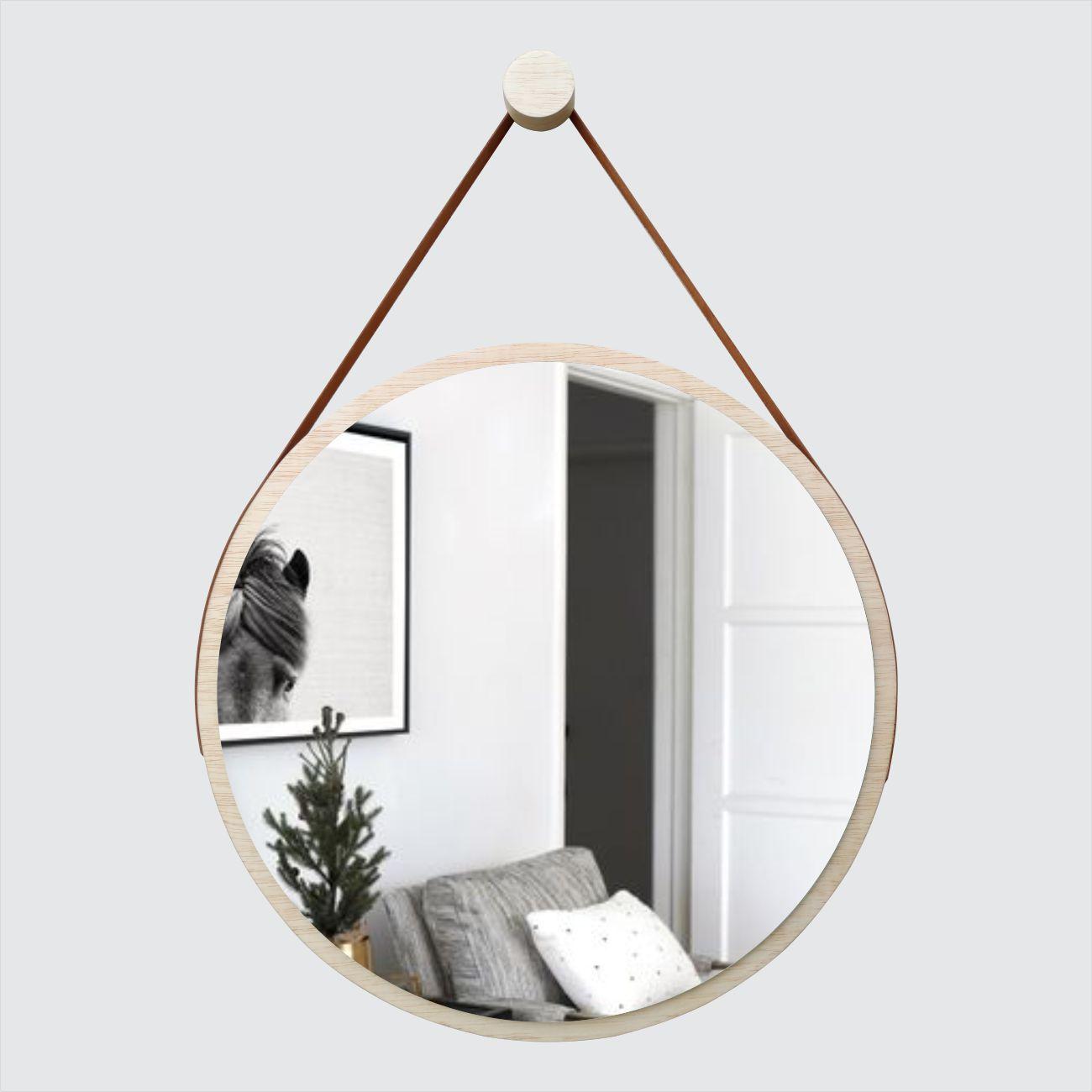 Espelho Redondo Adnet Minimalista com Alça Caramelo + Pendurador 50cm