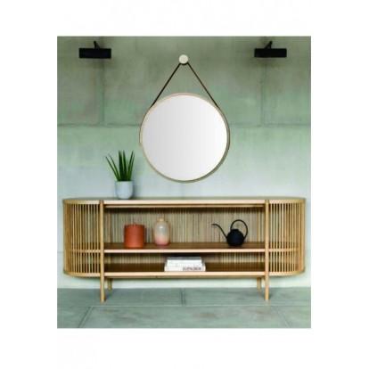 Espelho Redondo Adnet Minimalista Natural com Alça Caramelo 50cm