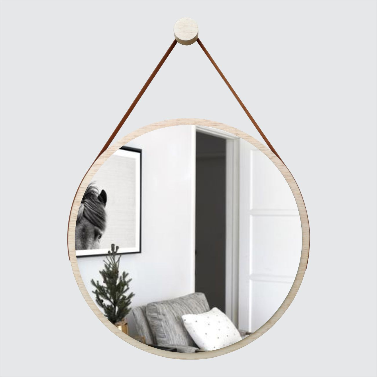Espelho Redondo Adnet Minimalista Natural com Alça Caramelo 60cm
