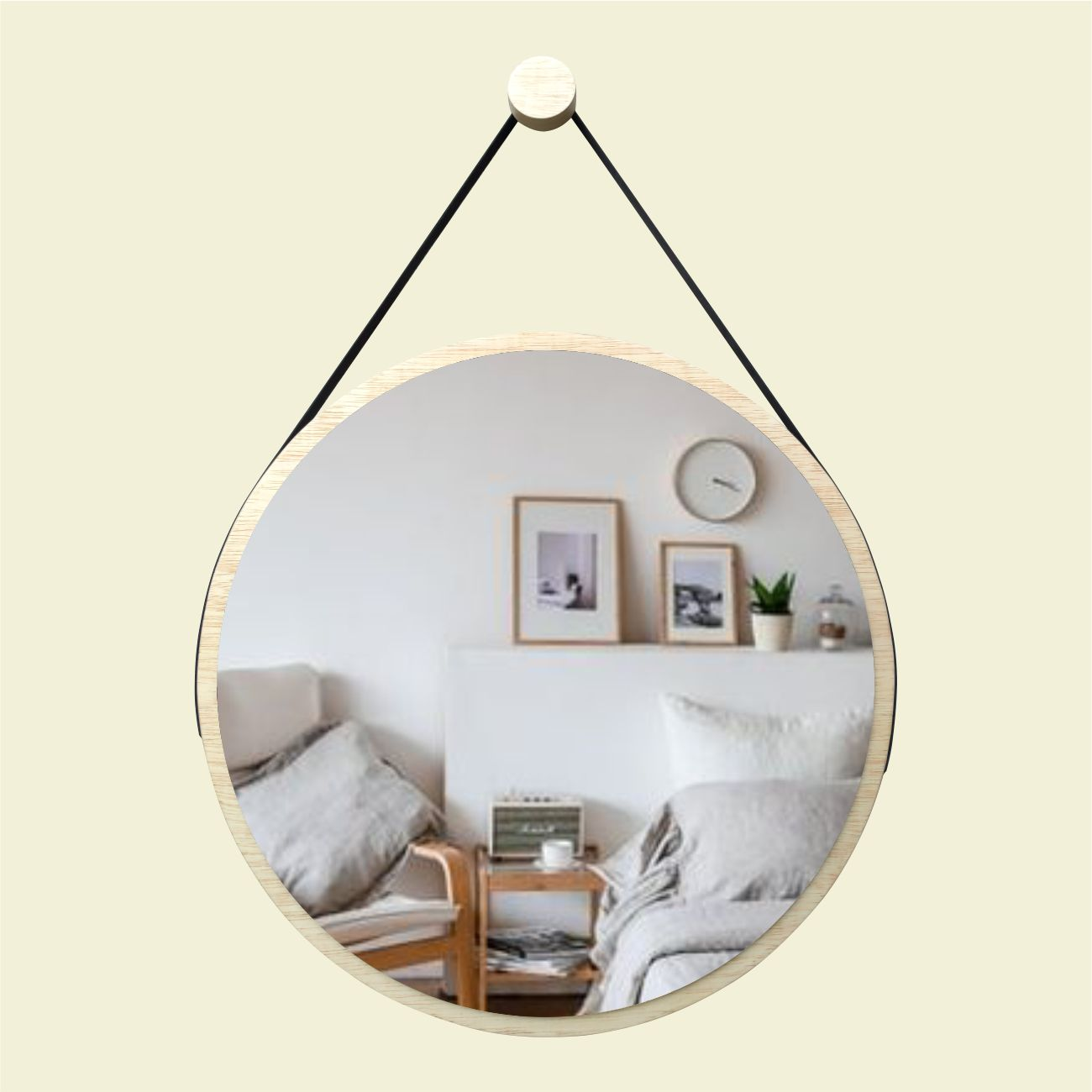 Espelho Redondo Adnet Minimalista Natural com Alça + Pendurador 50cm