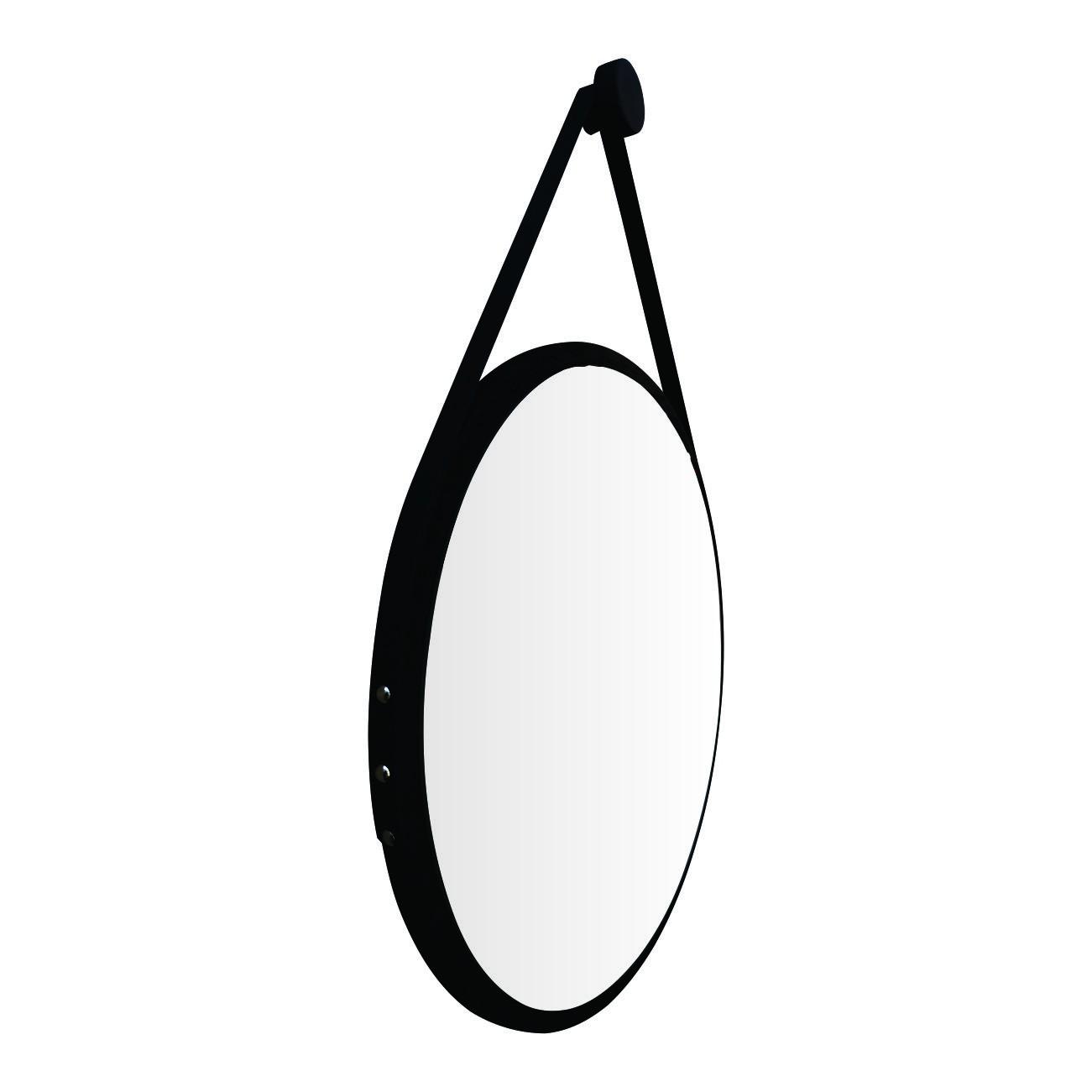Espelho Redondo Adnet Minimalista Preto Fosco com Alça 60cm + Pendurador
