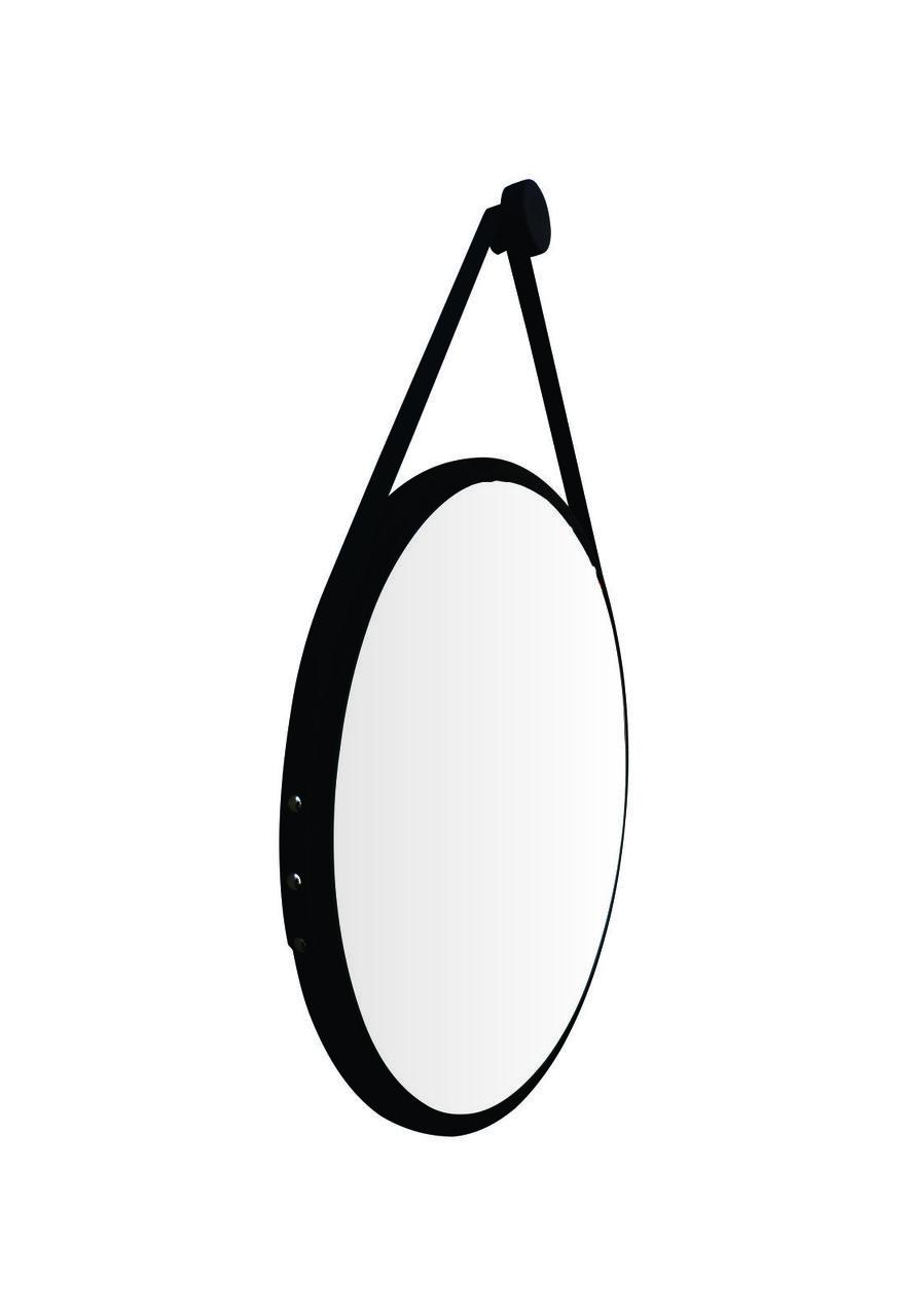 Espelho Redondo Adnet Minimalista Preto Fosco com Alça + Pendurador 60cm