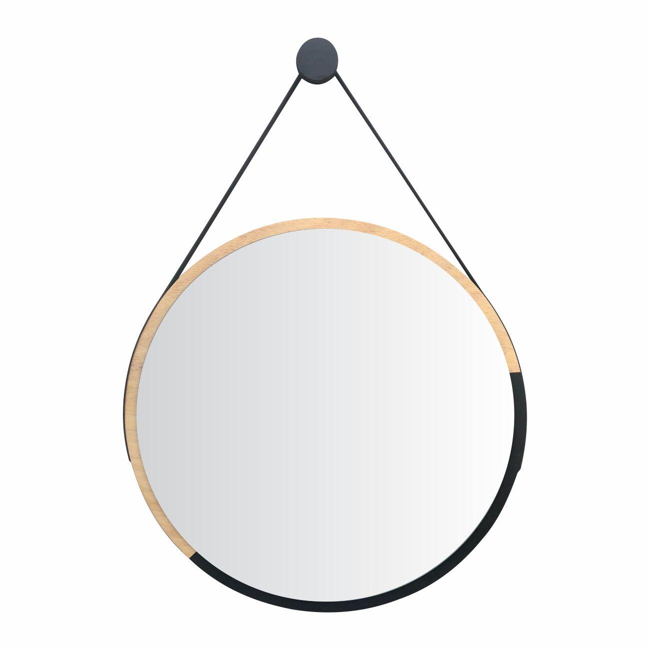 Espelho Redondo Minimalista Duo Preto com Alça + Pendurador 50cm