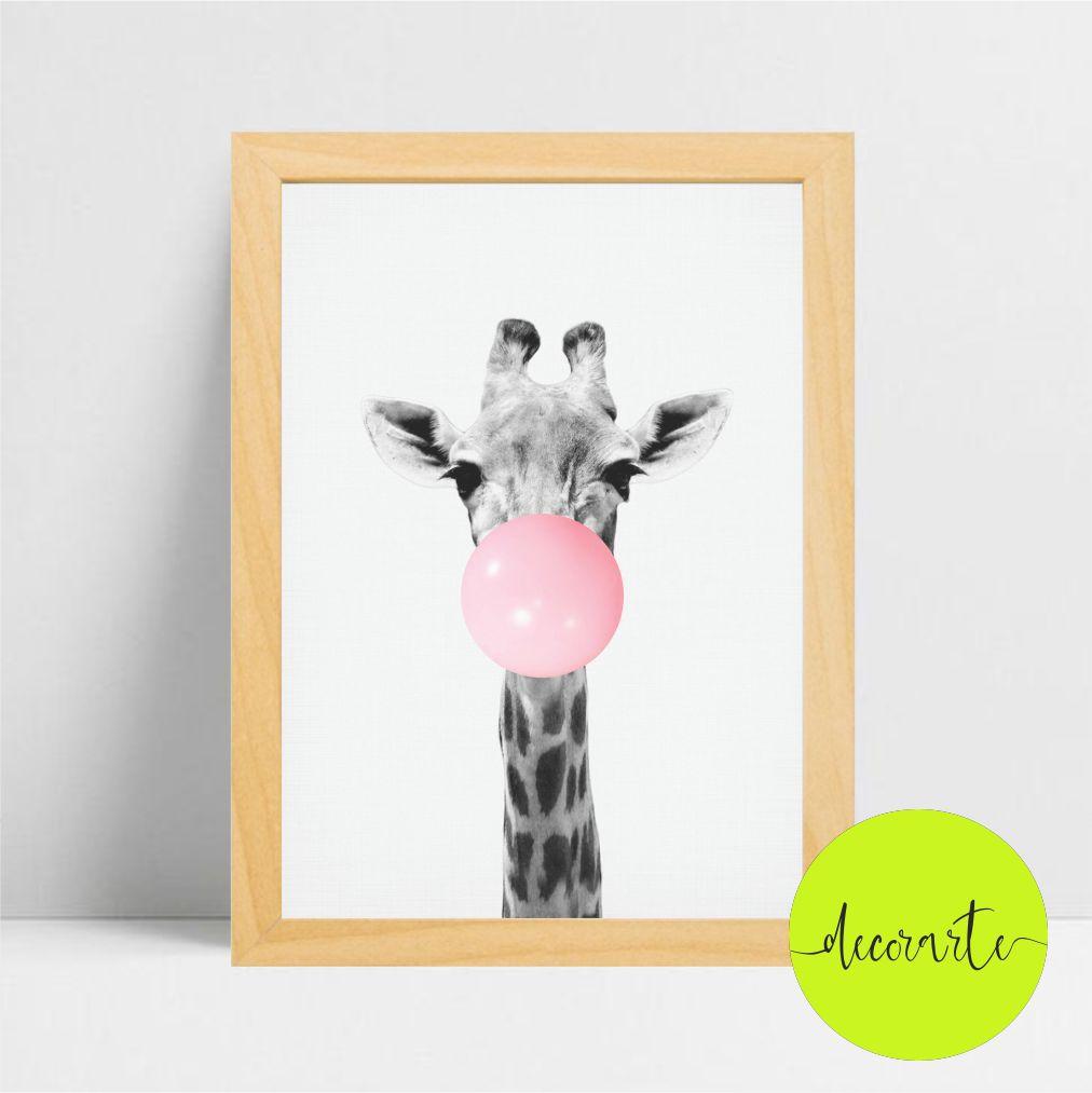 Quadro Decorativo Girafa com Chiclete