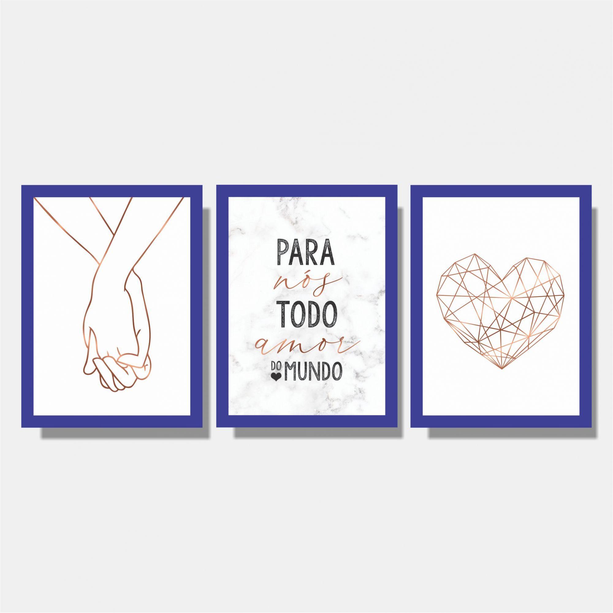Kit Conjunto de Quadros Para Quarto Casal - Mãos Dadas + Para Nós + Coração