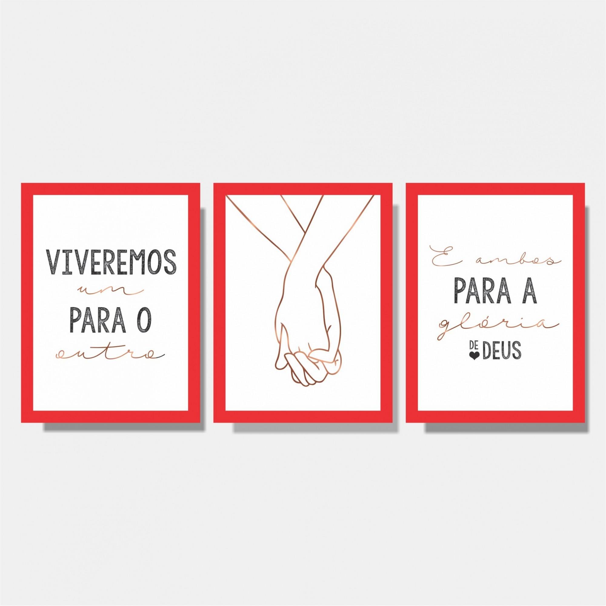 Kit Conjunto de Quadros para Quarto Casal - Viveremos Um Para o Outro e Ambos Para a Glória de Deus / Mãos Dadas