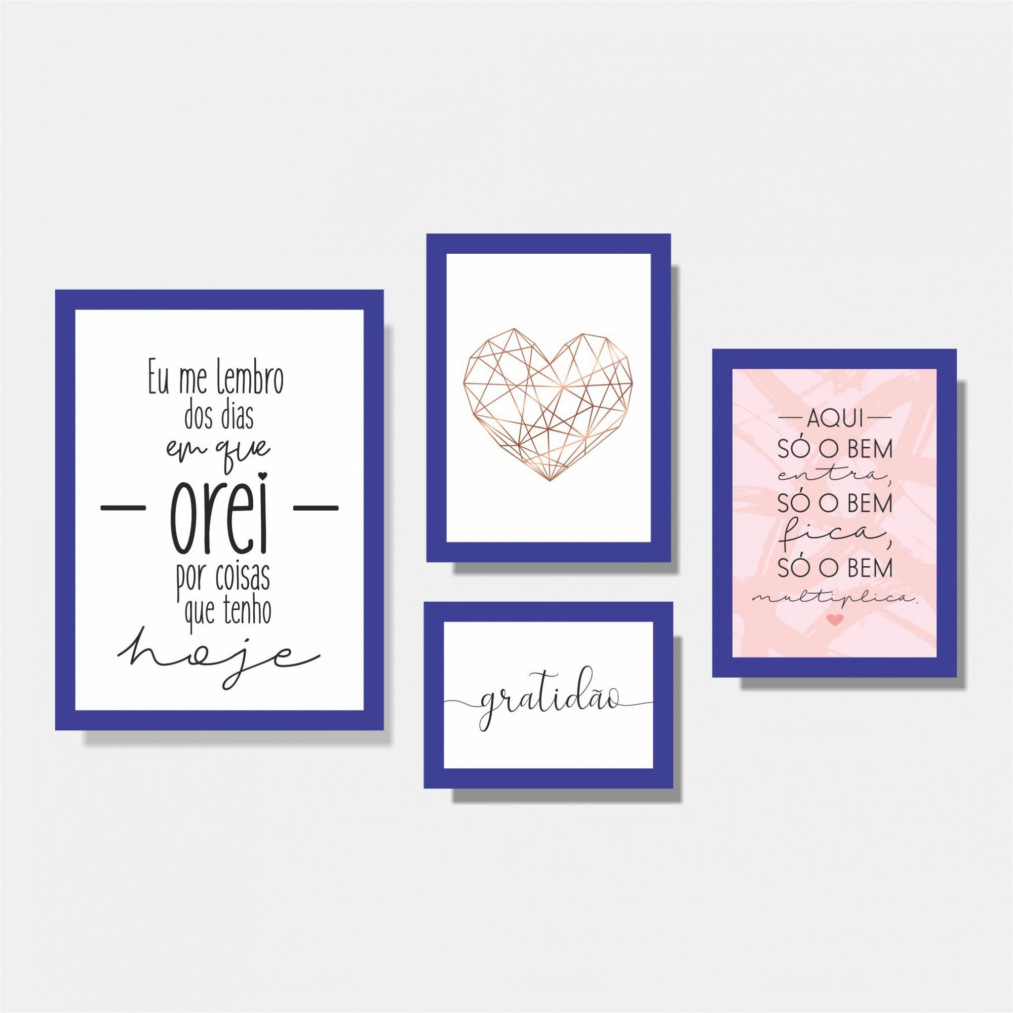 Kit Conjunto de Quadros para Sala Eu me Lembro / Coração Geométrico / Aqui só o Bem Entra / Gratidão