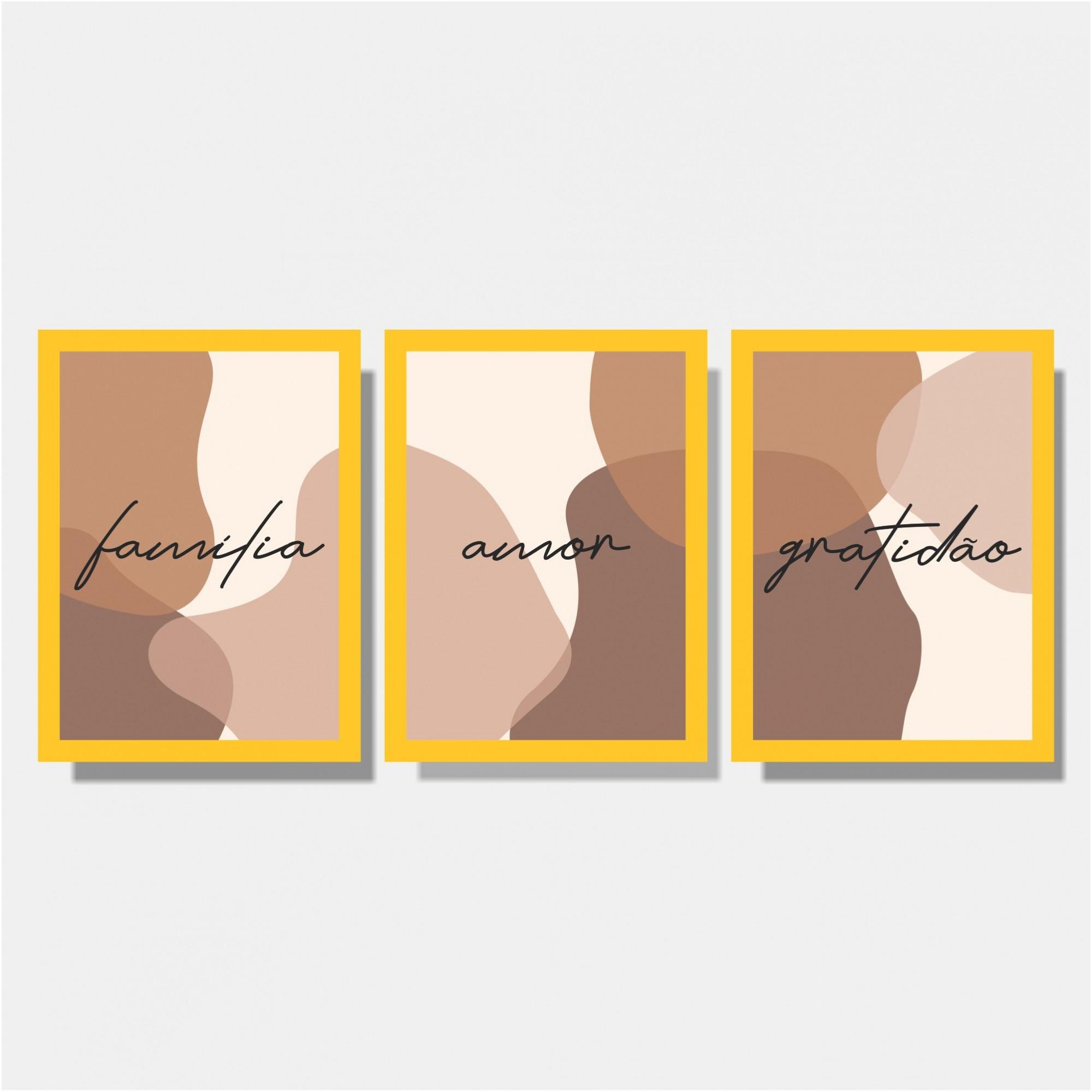 Kit Conjunto de Quadros Para Sala -  Família / Amor / Gratidão