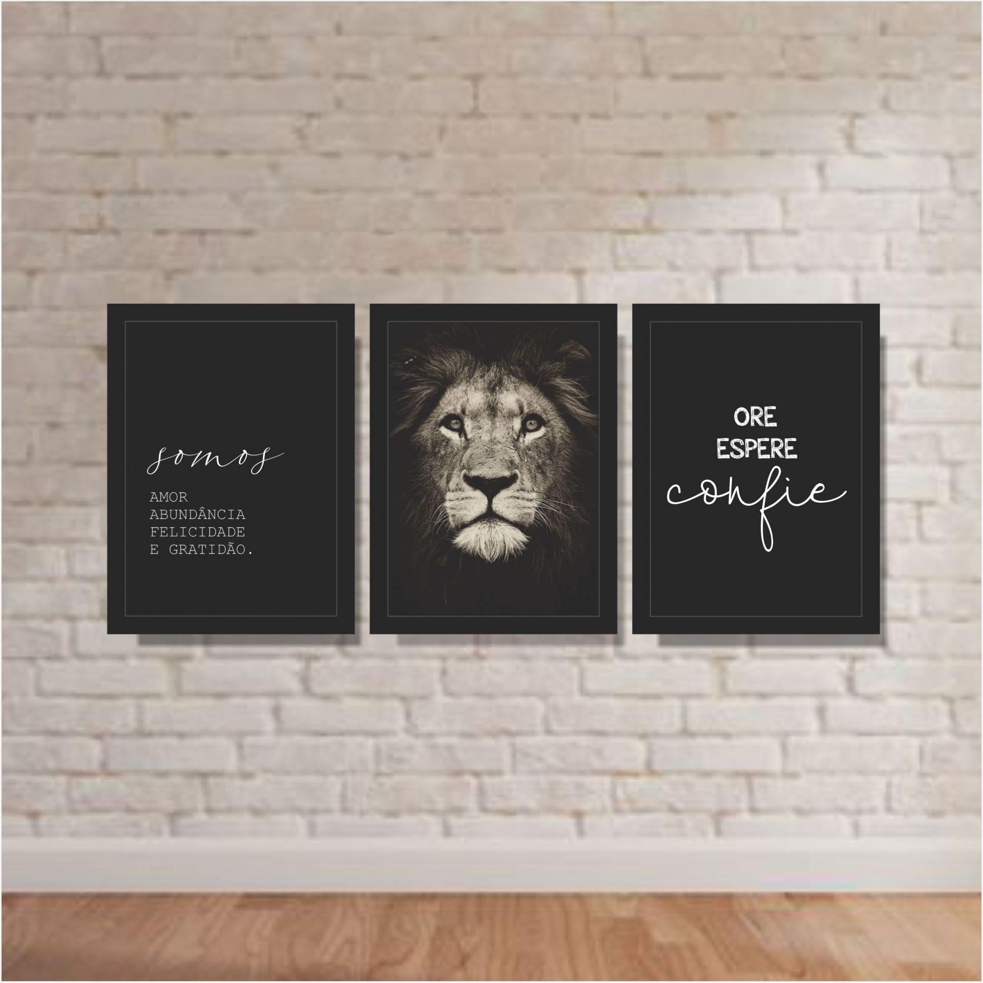 Kit Conjunto de Quadros Para Sala -  Somos amor / Leão / Ore