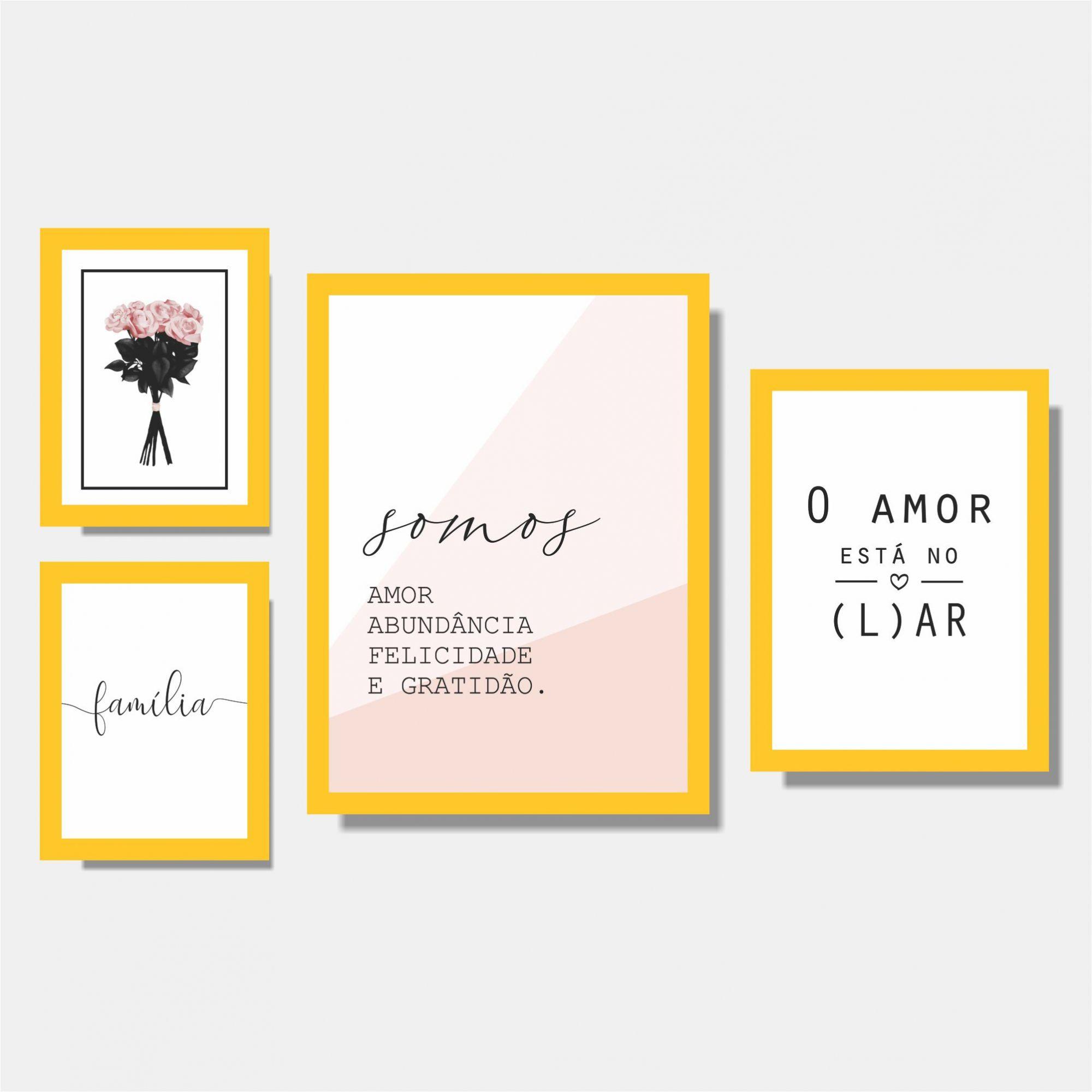 Kit Conjunto Quadros para Sala - Rosas / Família / Somos Amor / O Amor está no Lar