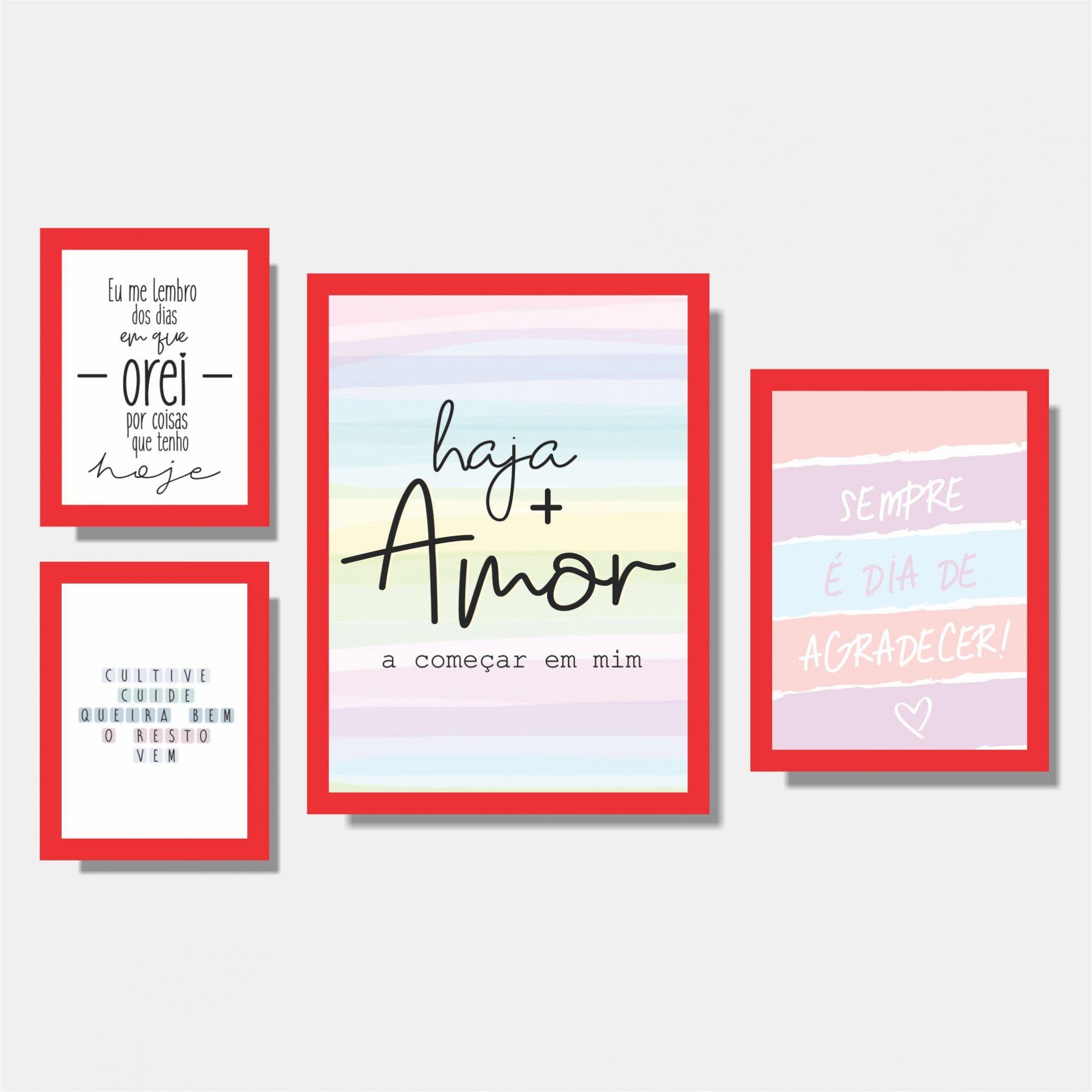 Kit Conjunto de Quadros - Eu me Lembro + Cultive Cuide + Haja Amor + Sempre é dia