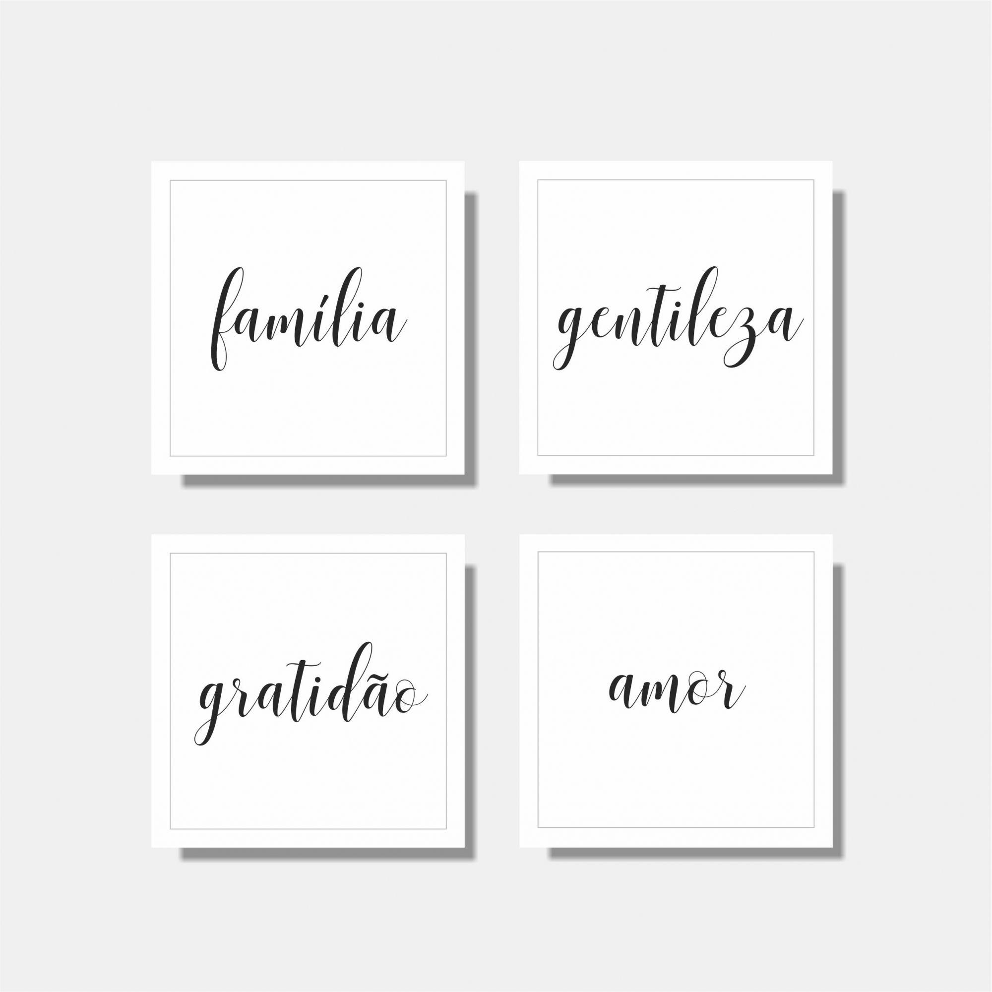 Kit Família + Gentileza + Gratidão + Amor