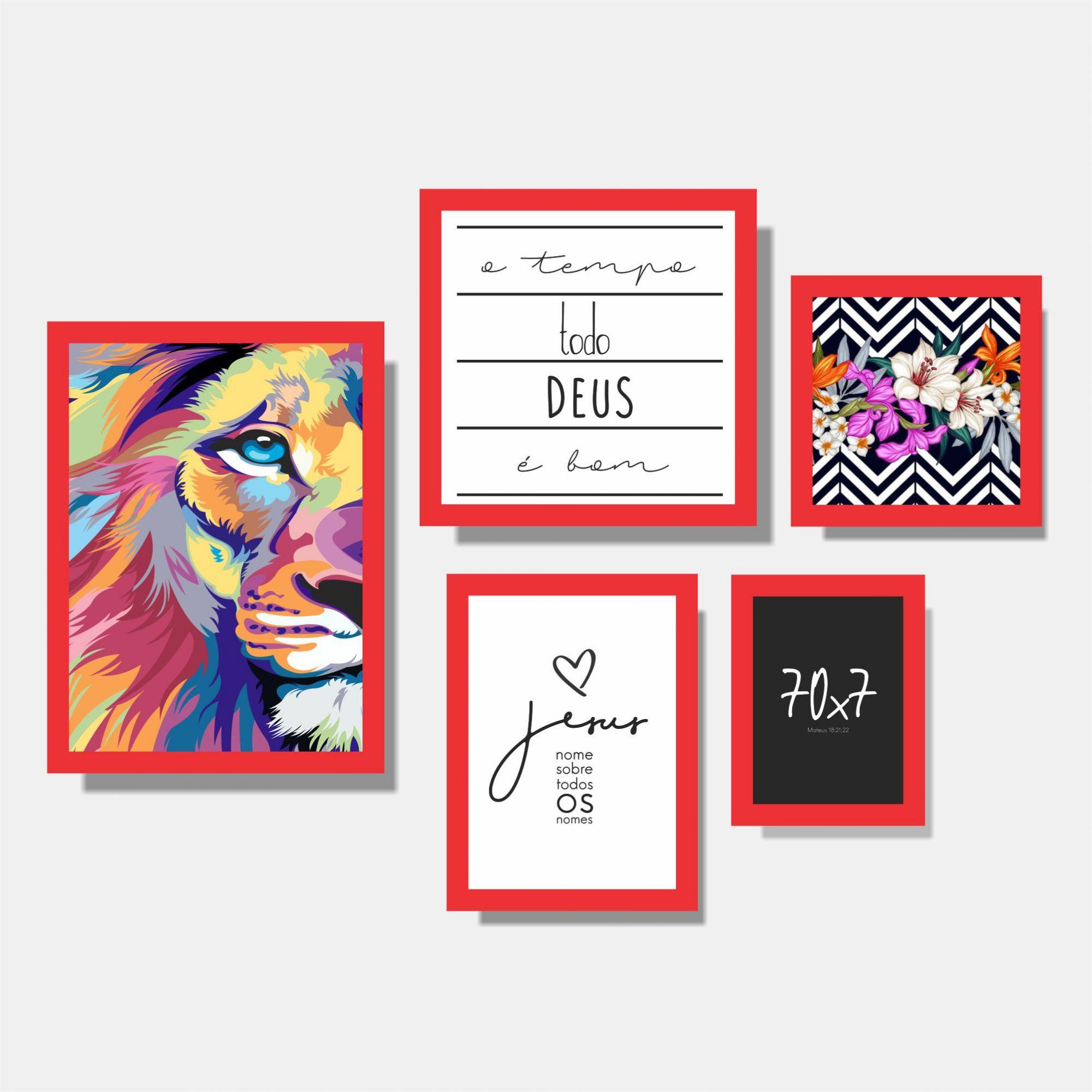 Kit Leão + Jesus + 70x7 + O tempo todo + Flores