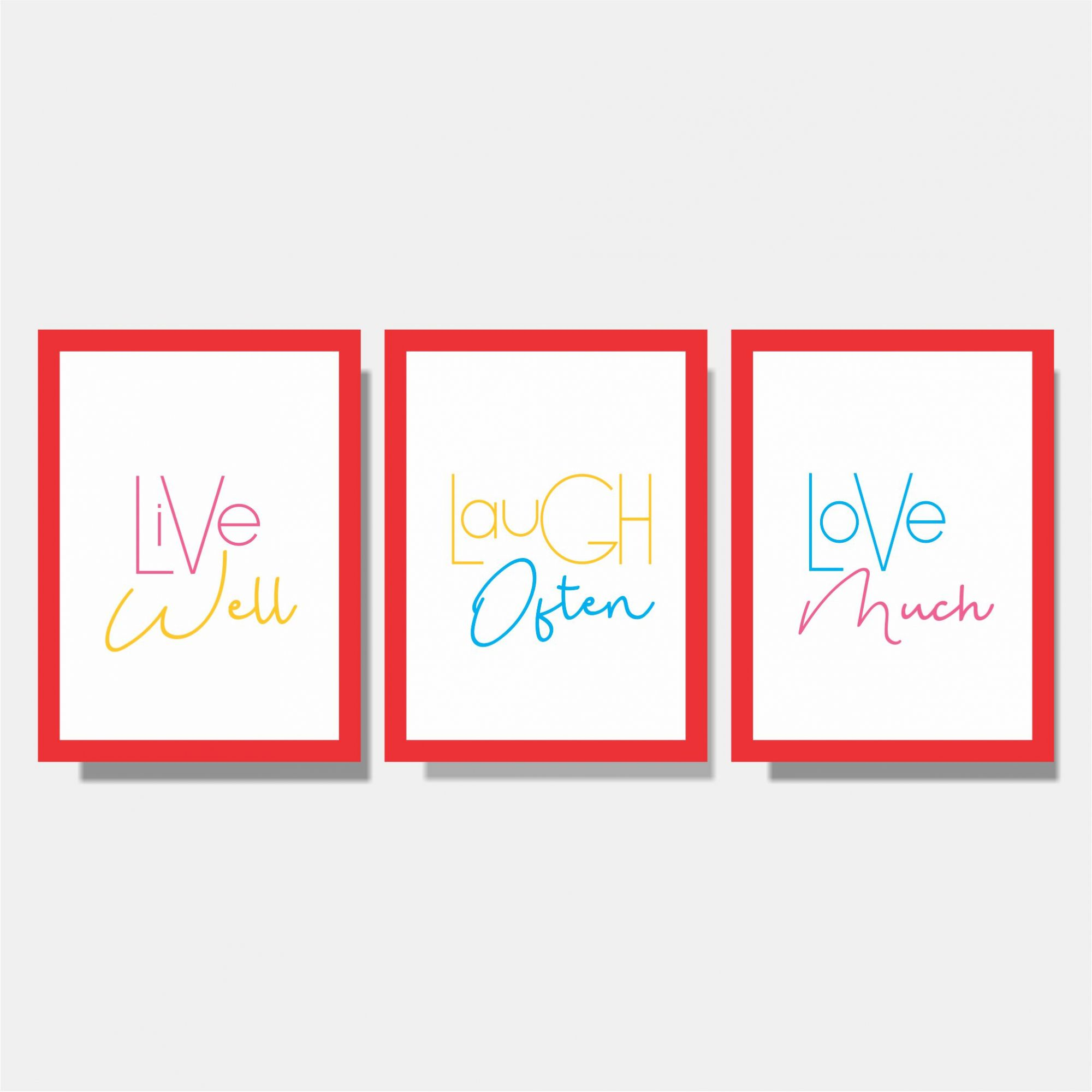 Kit Conjunto de Quadros - Live Well + Laugh Often + Love Much