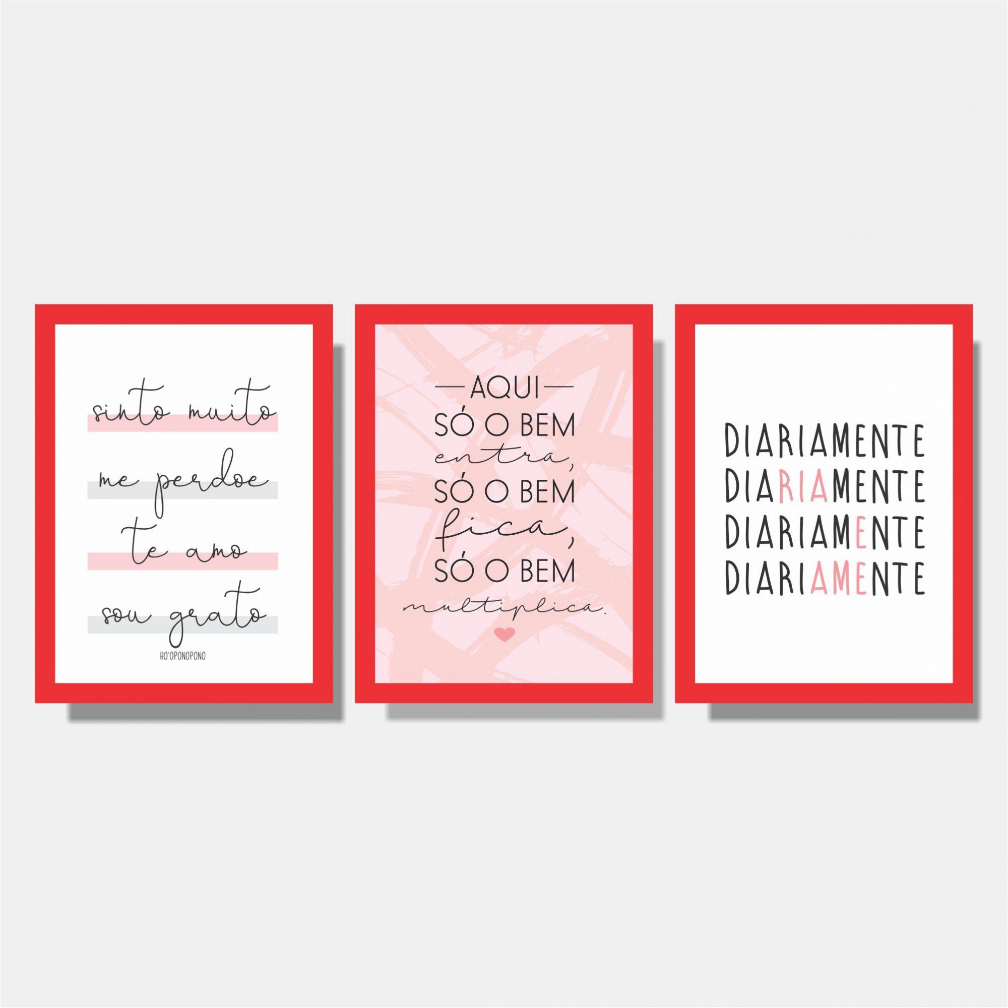 Kit Conjunto de Quadros -  Te amo + Aqui só o bem + Diariamente