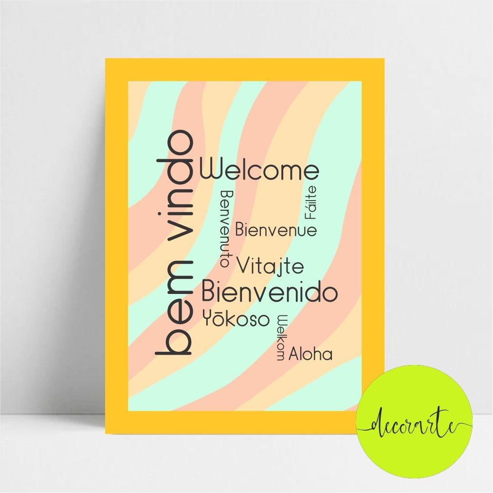 Quadro Decorativo Bem Vindo / Welcome / outras línguas