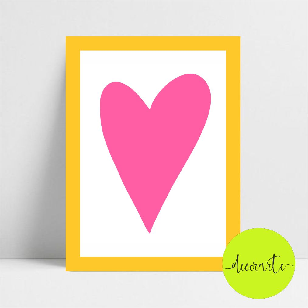 Quadro Decorativo Coração Pink
