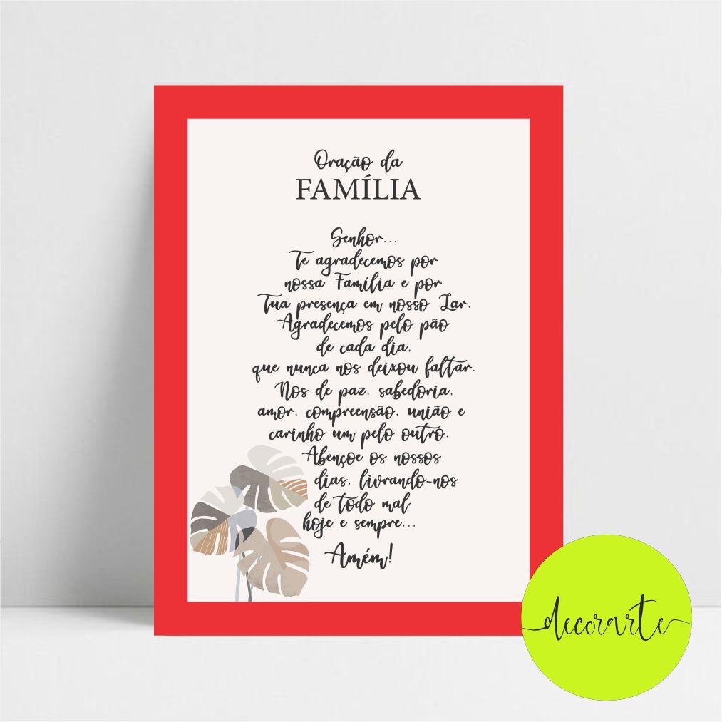 Quadro Decorativo Oração da Família