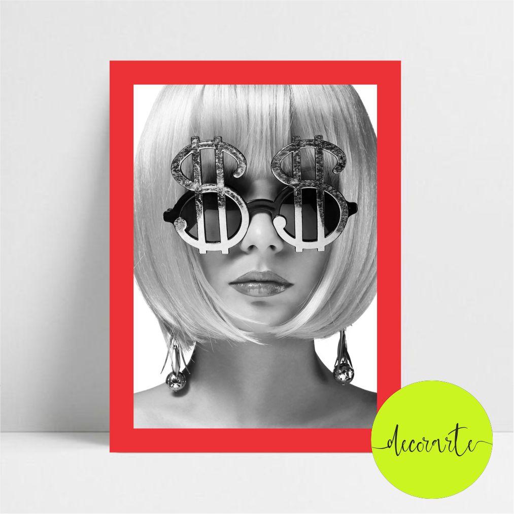 Quadro Decorativo Rosto Mulher e Óculos de Dólar