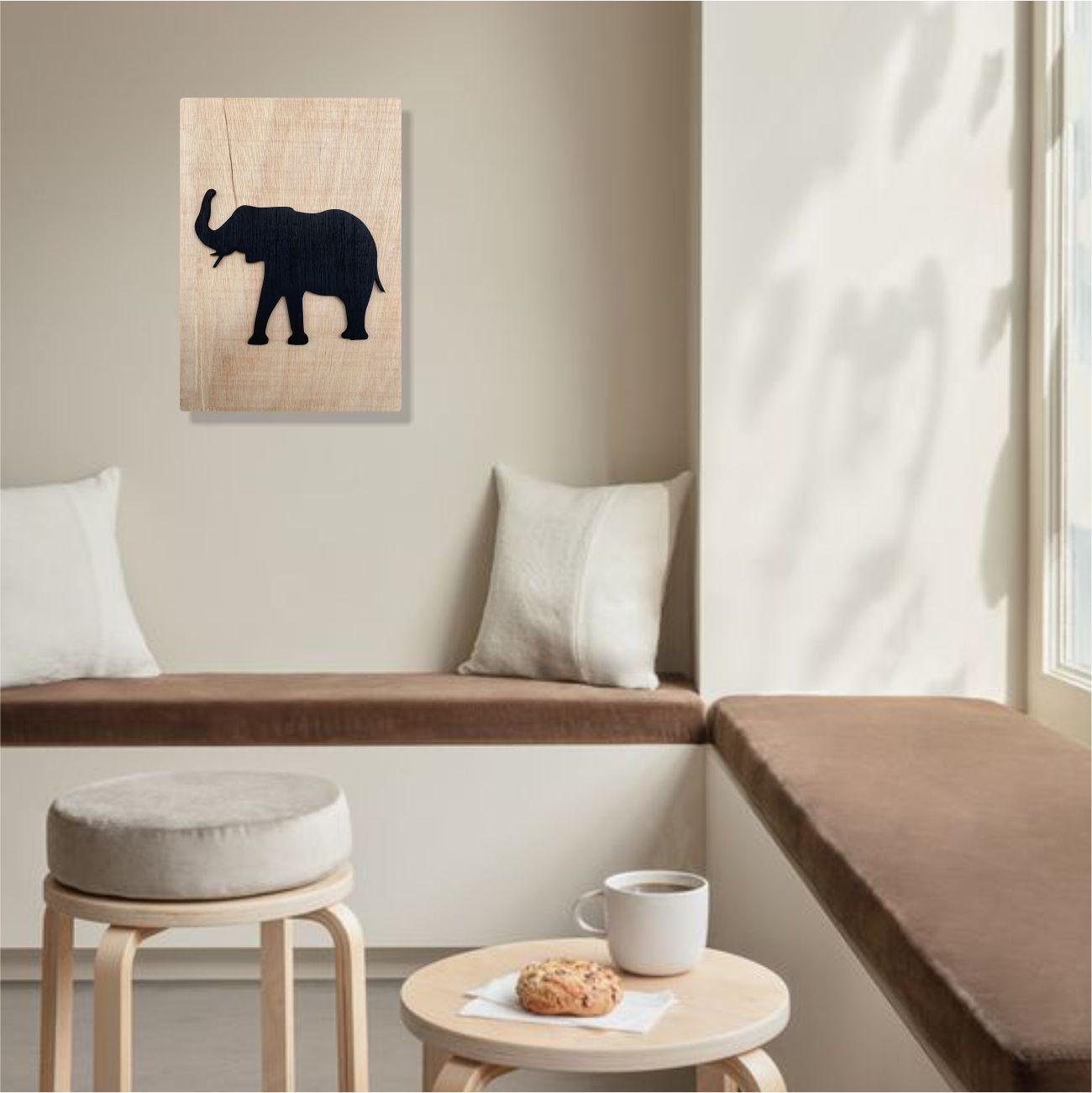 Quadro Escultura em Madeira Minimalista Safari Elefante
