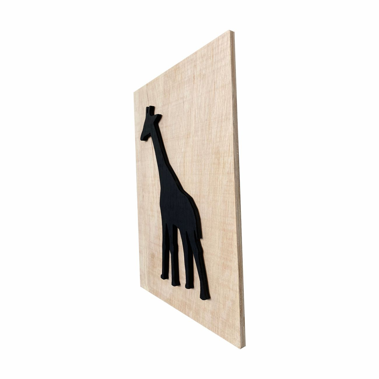 Quadro Escultura em Madeira Minimalista Safari Girafa