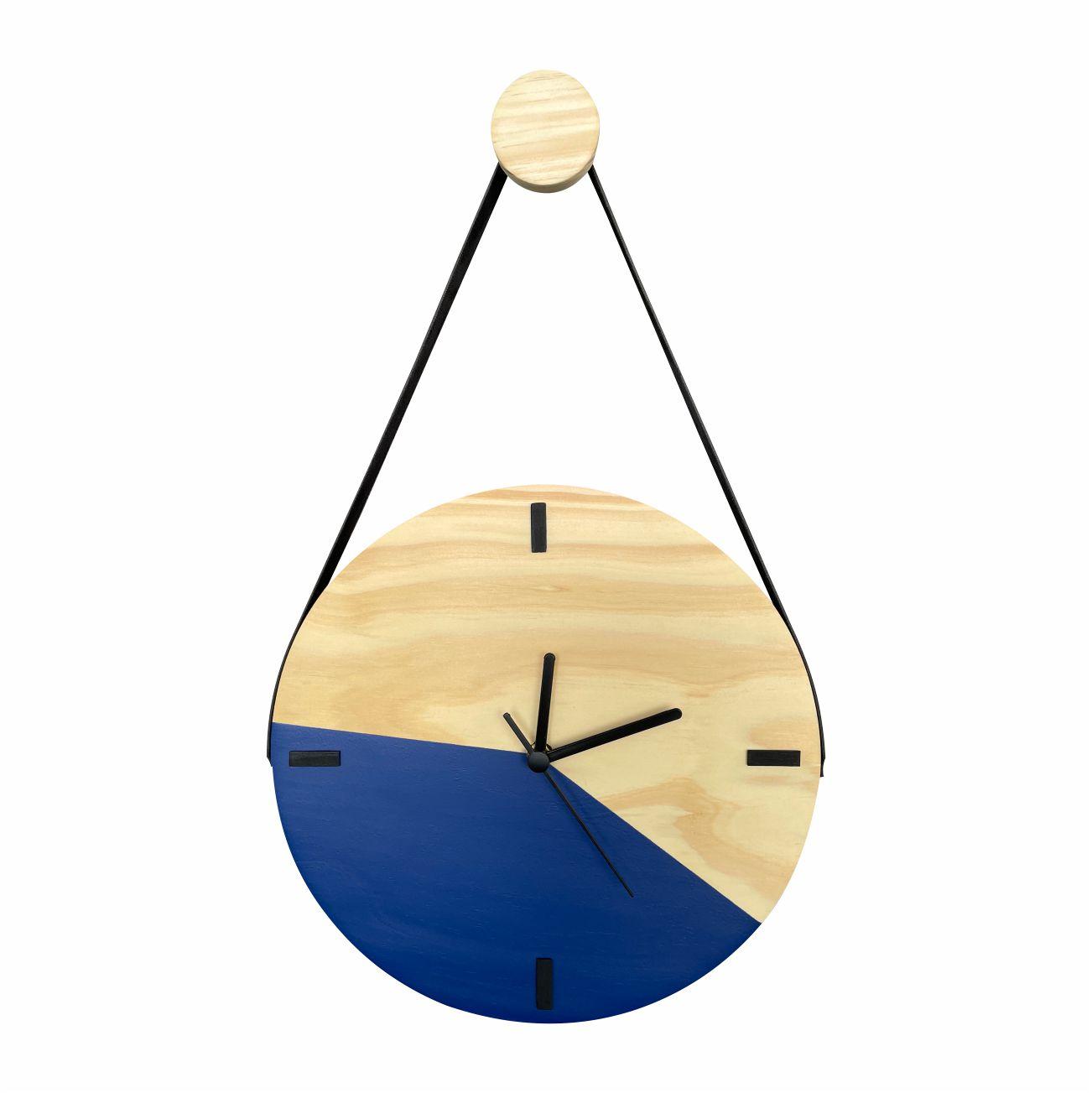Relógio de Parede Decorativo Escandinavo Duo Azul com Alça + Pendurador