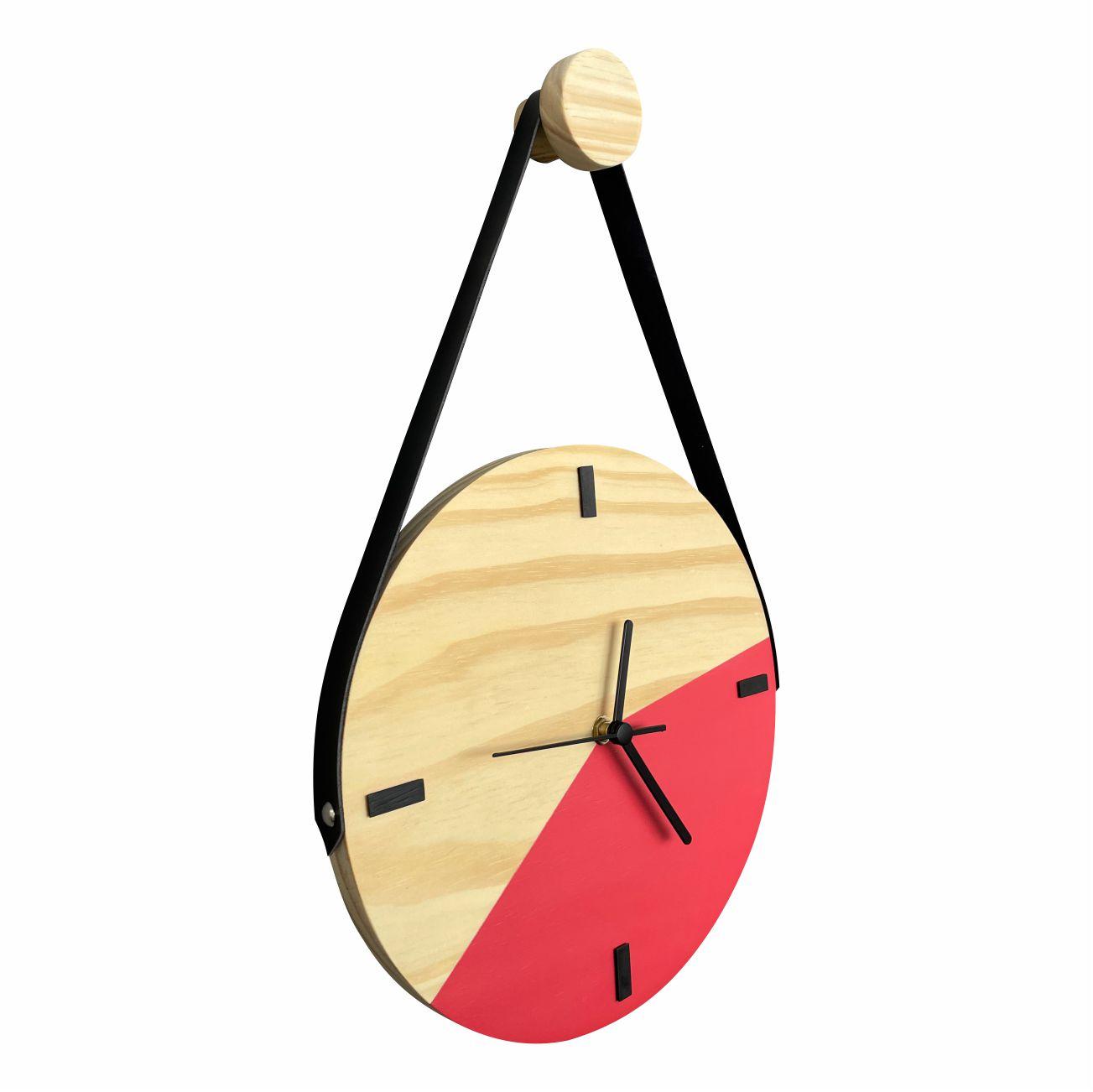 Relógio de Parede Decorativo Escandinavo Duo Goiaba com Alça + Pendurador