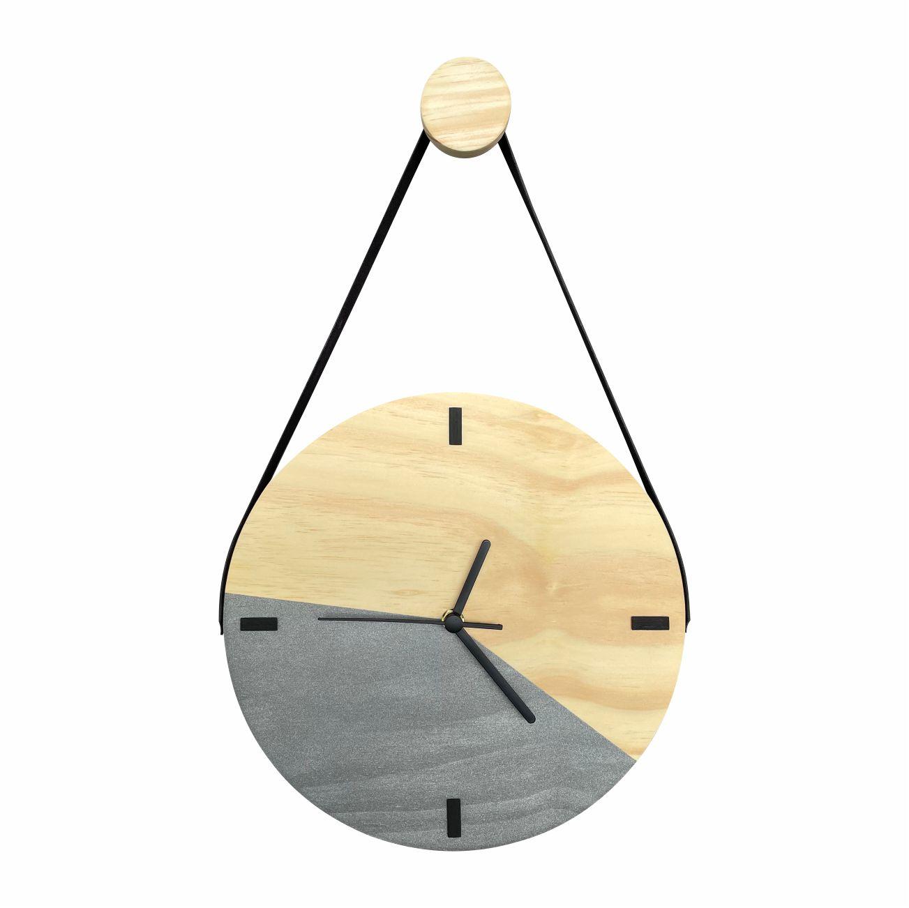 Relógio de Parede Decorativo Escandinavo Duo Grafite com Alça + Pendurador