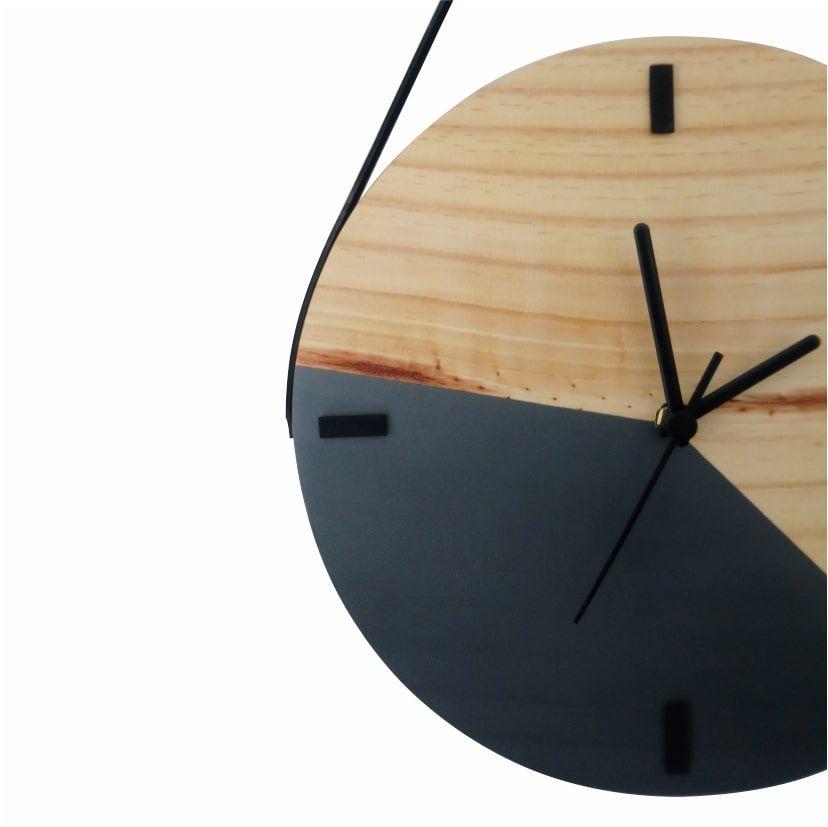 Relógio de Parede Decorativo Escandinavo Grafite com Alça