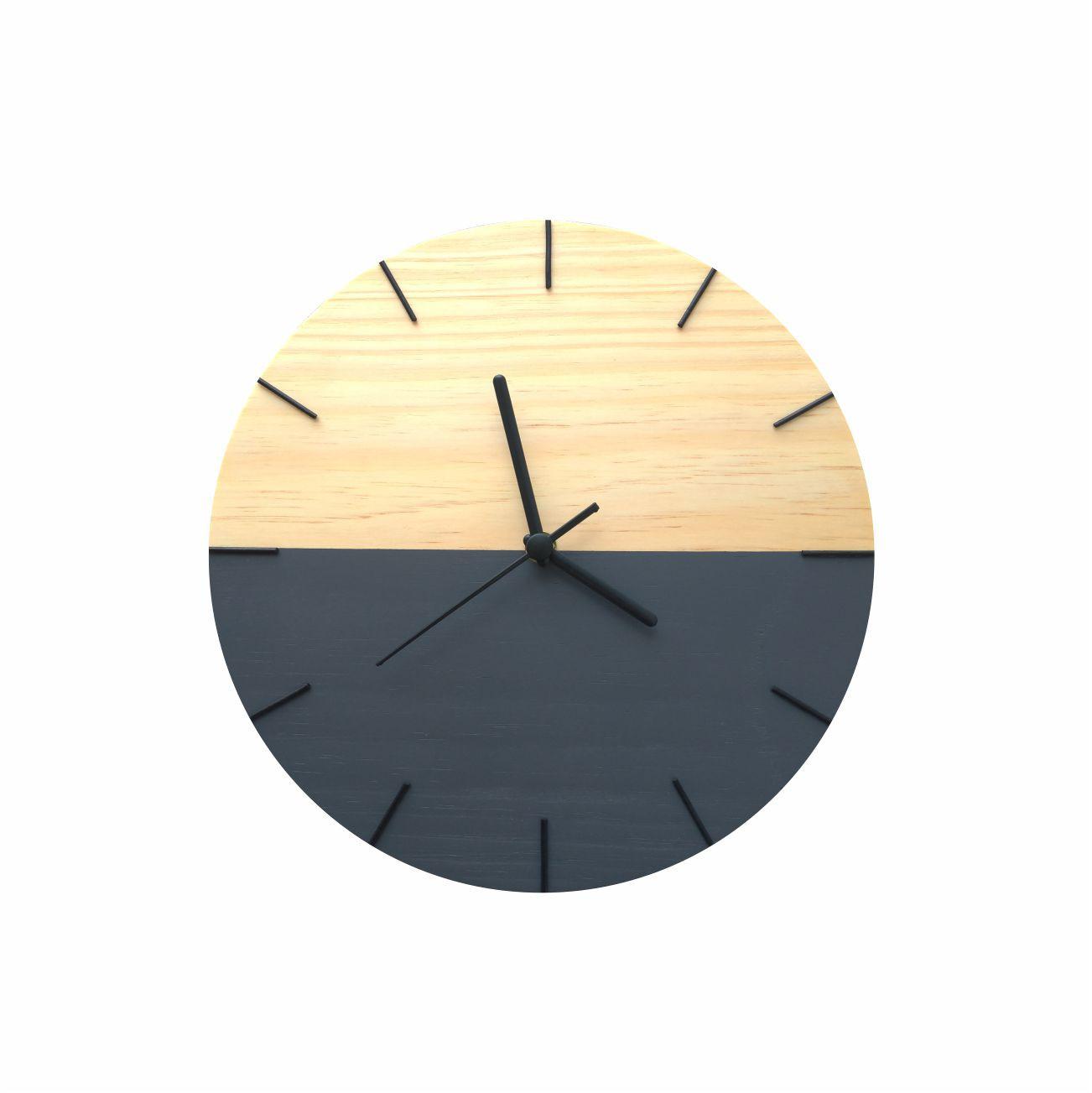 Relógio de Parede Decorativo Minimalista Cinza Chumbo