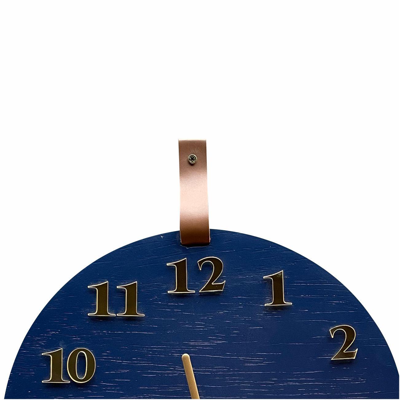 Relógio De Parede Decorativo Moderno Azul e Dourado