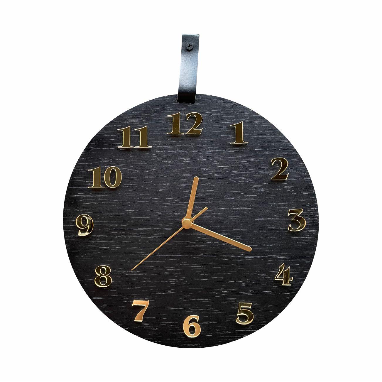Relógio De Parede Decorativo Moderno Preto Fosco e Dourado