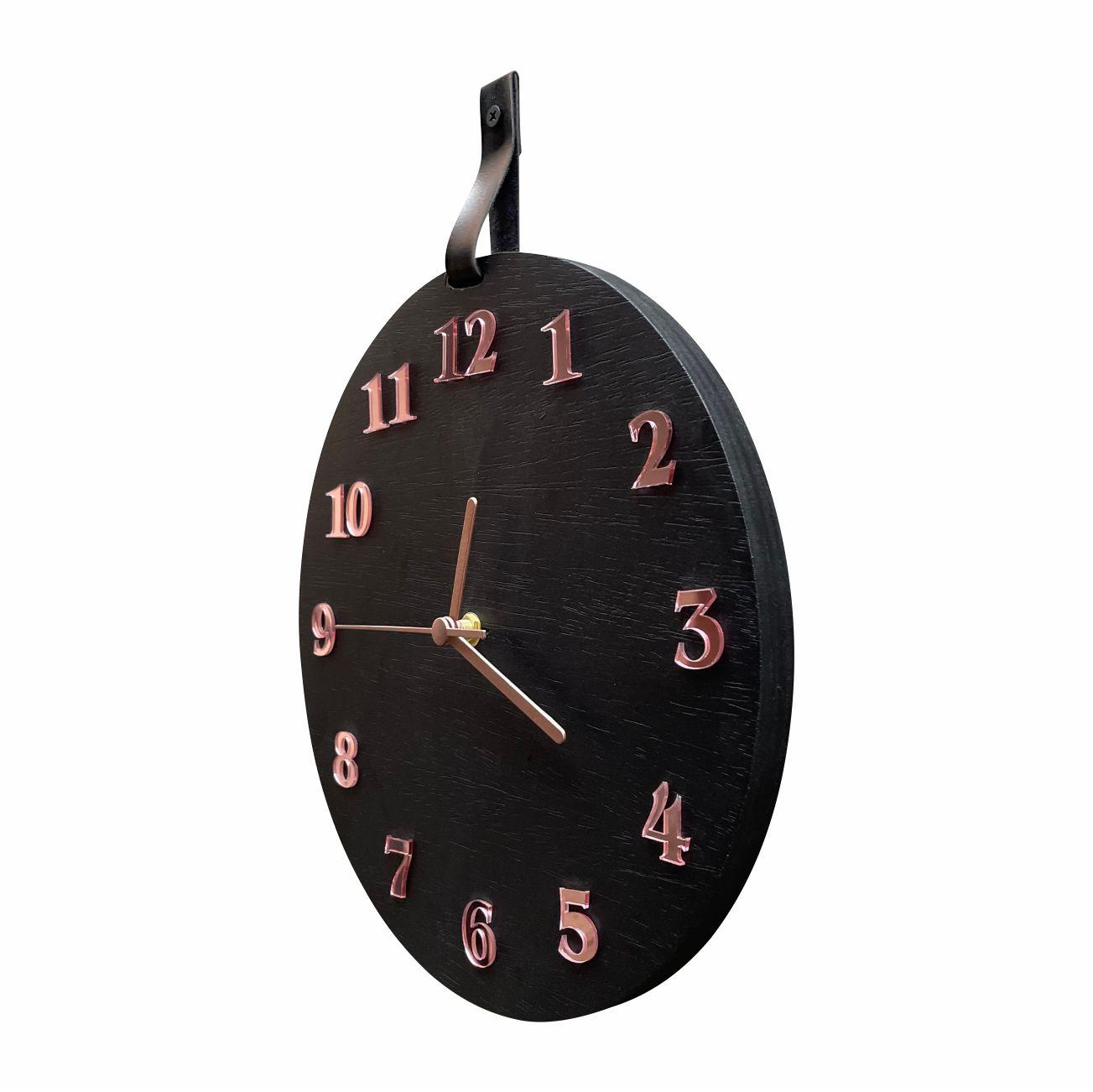 Relógio De Parede Decorativo Moderno Preto Fosco e Rosê