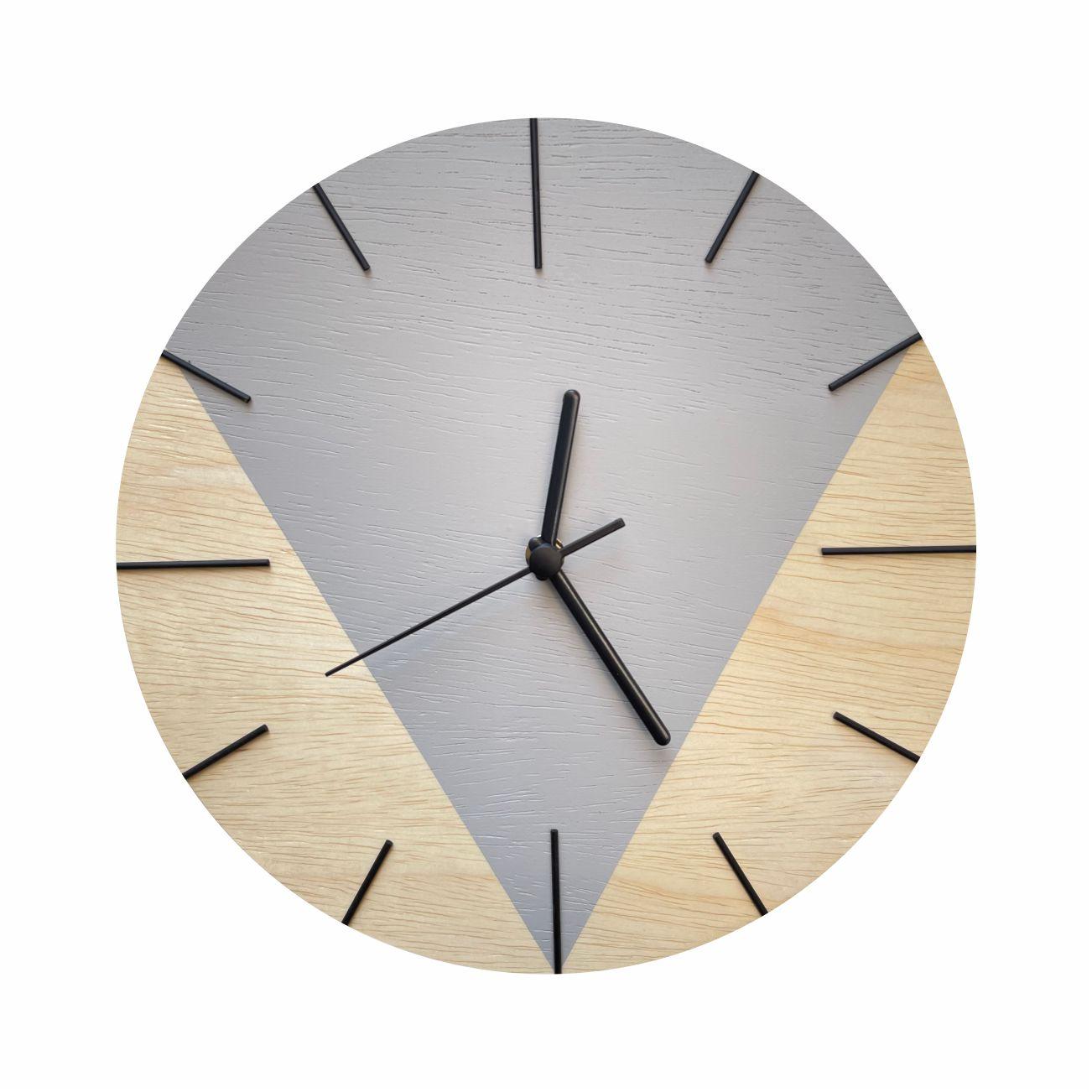 Relógio de Parede Design Triangular - 30cm Light Gray