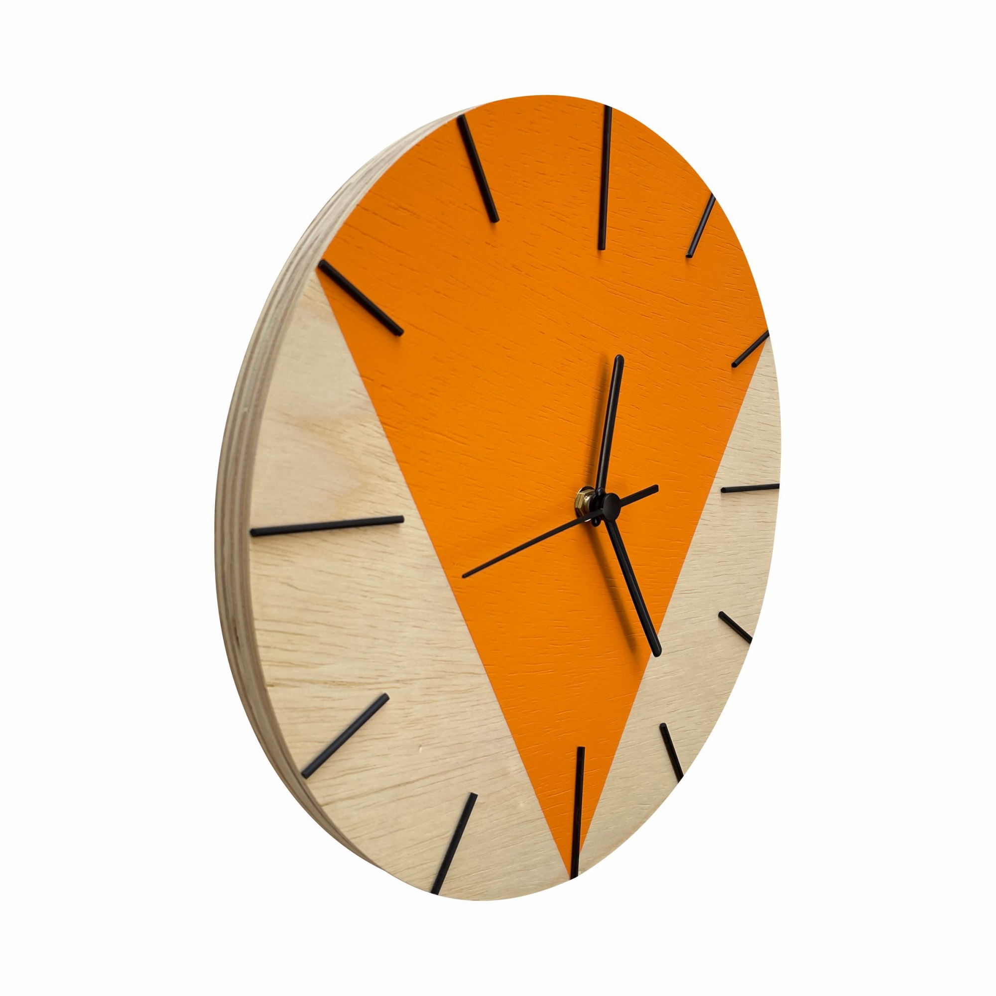 Relógio de Parede Design Triangular - 30cm Tangerine