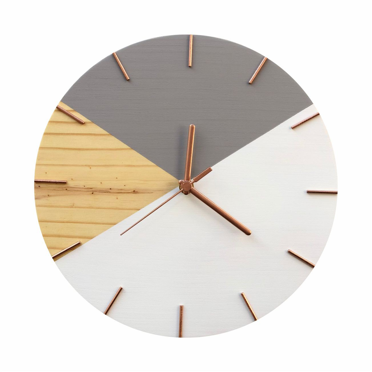 Relógio de Parede Em Madeira Geométrico Cinza e Branco Minimalista com Detalhes Rosê Gold
