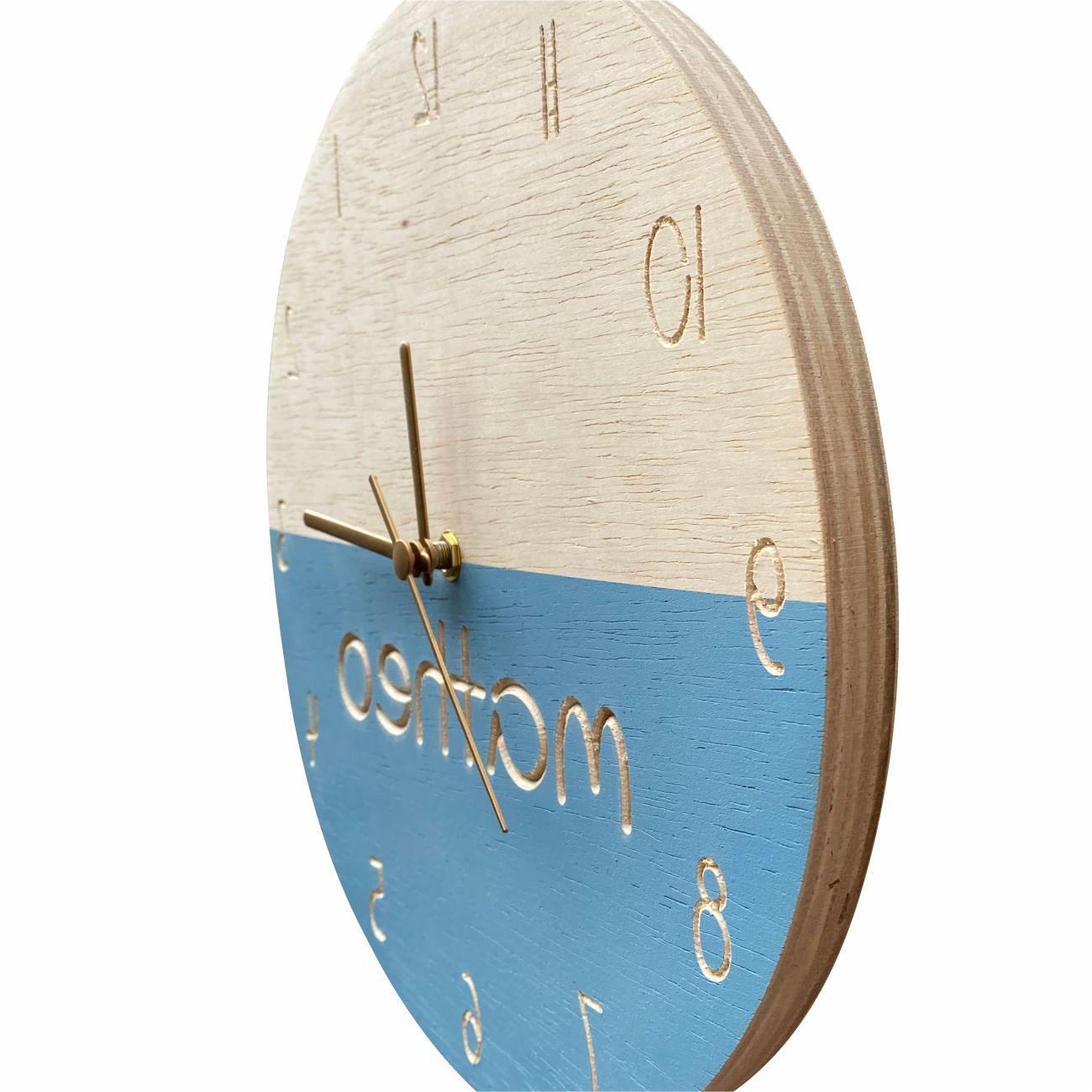 Relógio de Parede em Madeira para Quarto Infantil Azul Personalizado 30cm