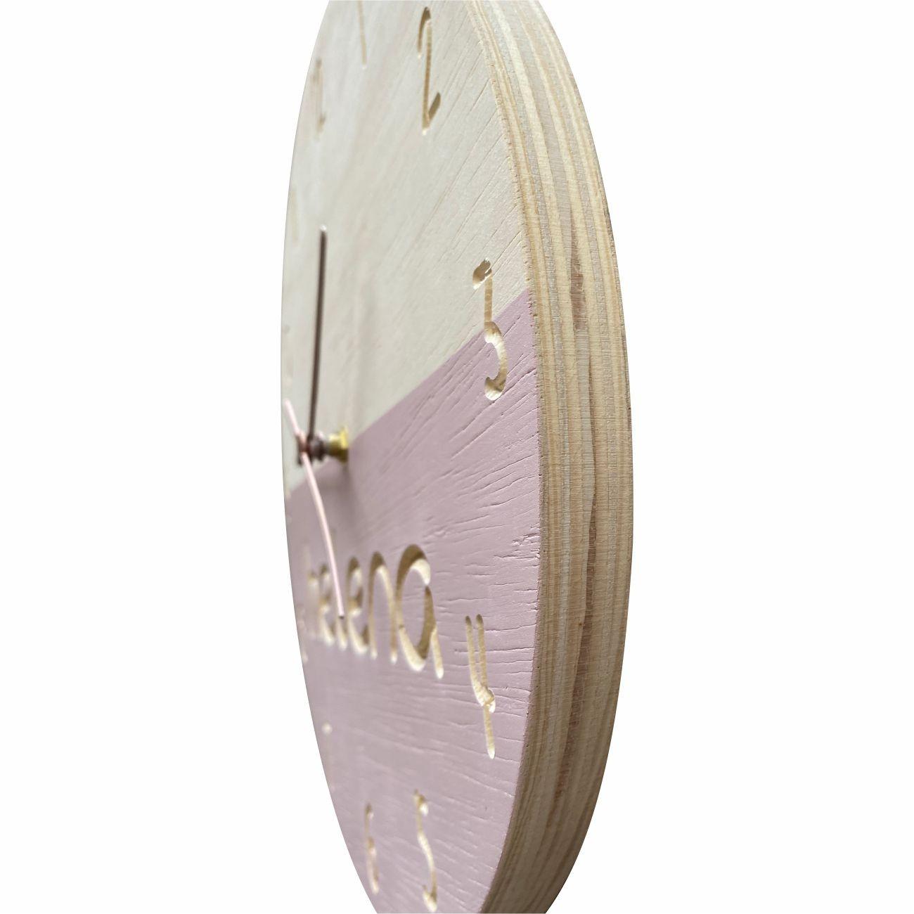 Relógio de Parede em Madeira para Quarto Infantil Rosa Personalizado 30cm