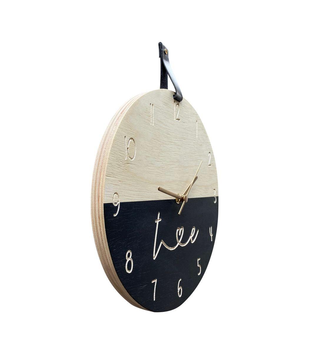 Relógio de Parede em Madeira Personalizado Preto