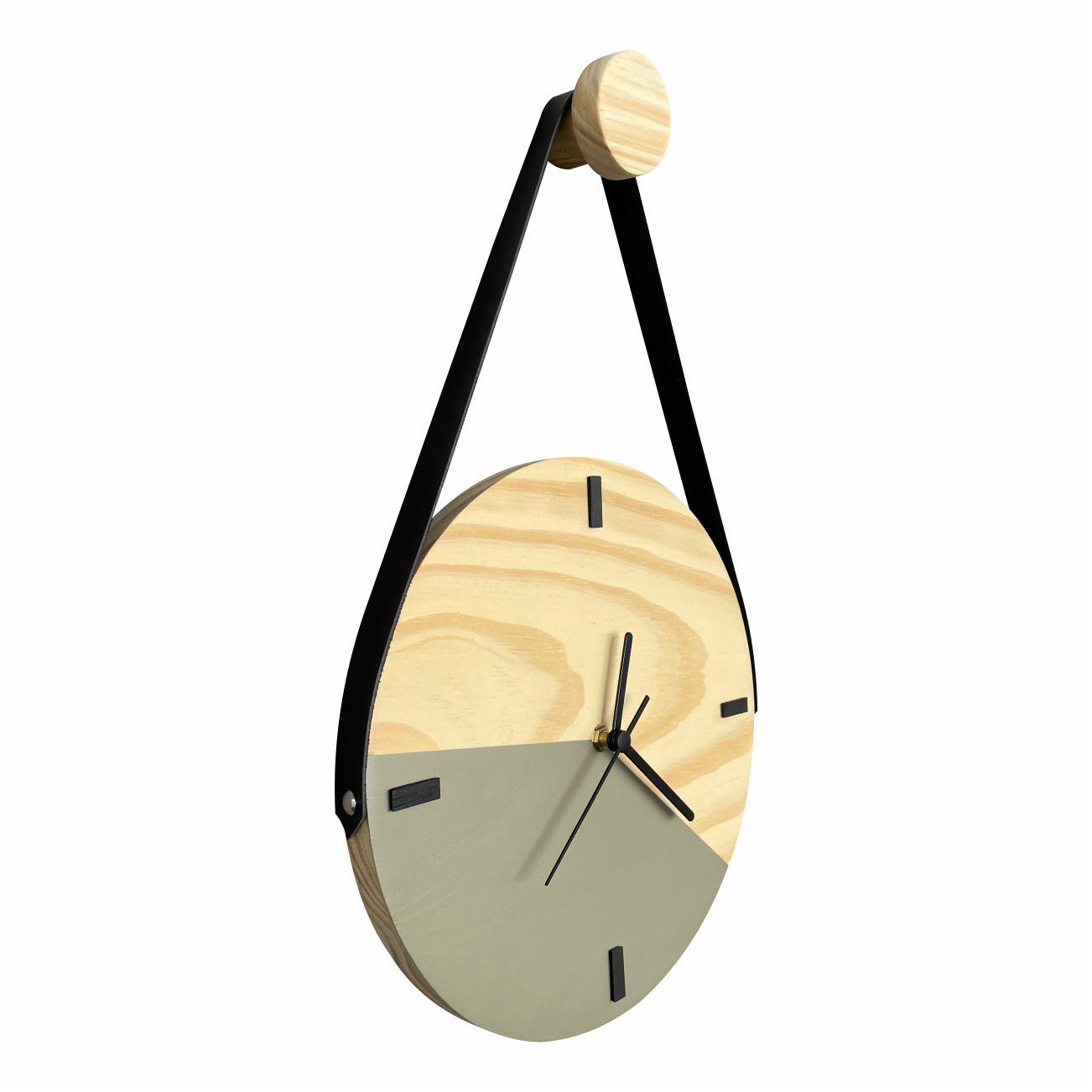 Relógio de Parede Escandinavo Cinza Concreto com Alça + Cabide Pendurador