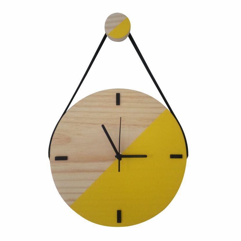 Relógio de Parede Escandinavo Duo Amarelo com Alça 28cm